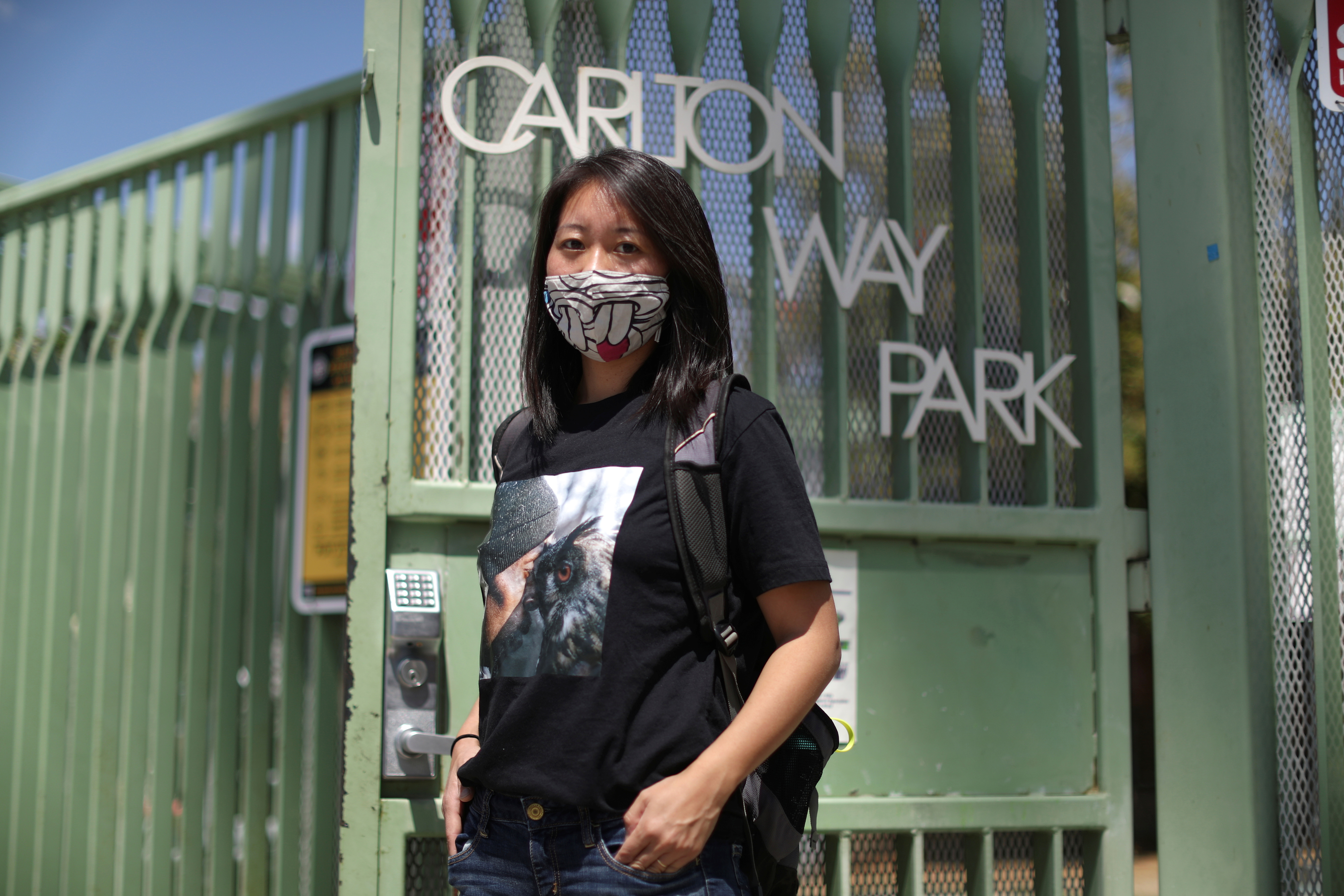 Tracy Park poses outside the park in which she was shouted at, as the coronavirus disease (COVID-19) pandemic continues, in Hollywood, Los Angeles, California, U.S., April 27, 2021.REUTERS/Lucy Nicholson