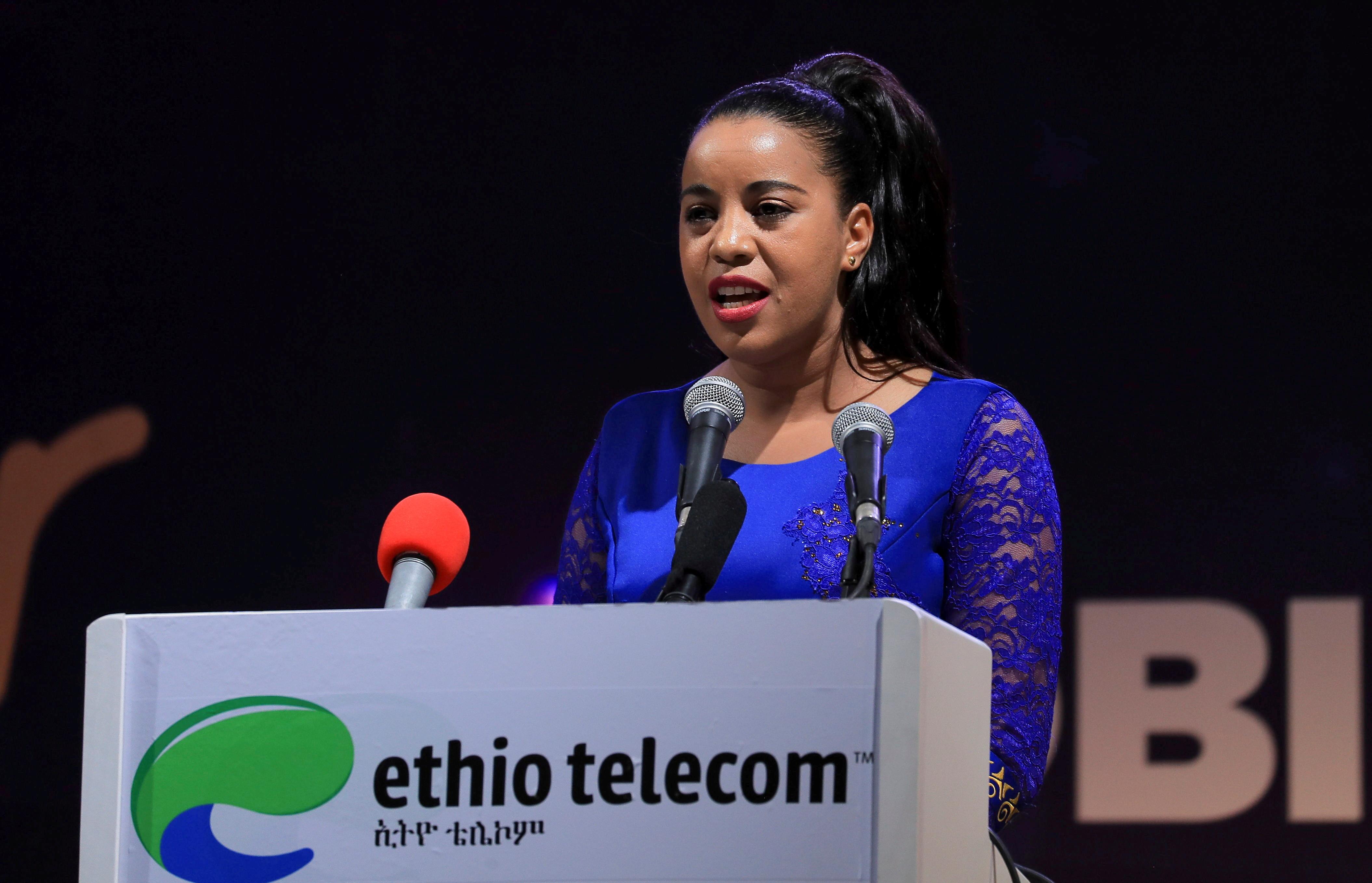 Ethio Telecom CEO Frehiwot Tamiru addresses delegates at the launch of the company's mobile money service Telebirr in Addis Ababa, Ethiopia May 11, 2021. REUTERS/Tiksa Negeri/File Photo