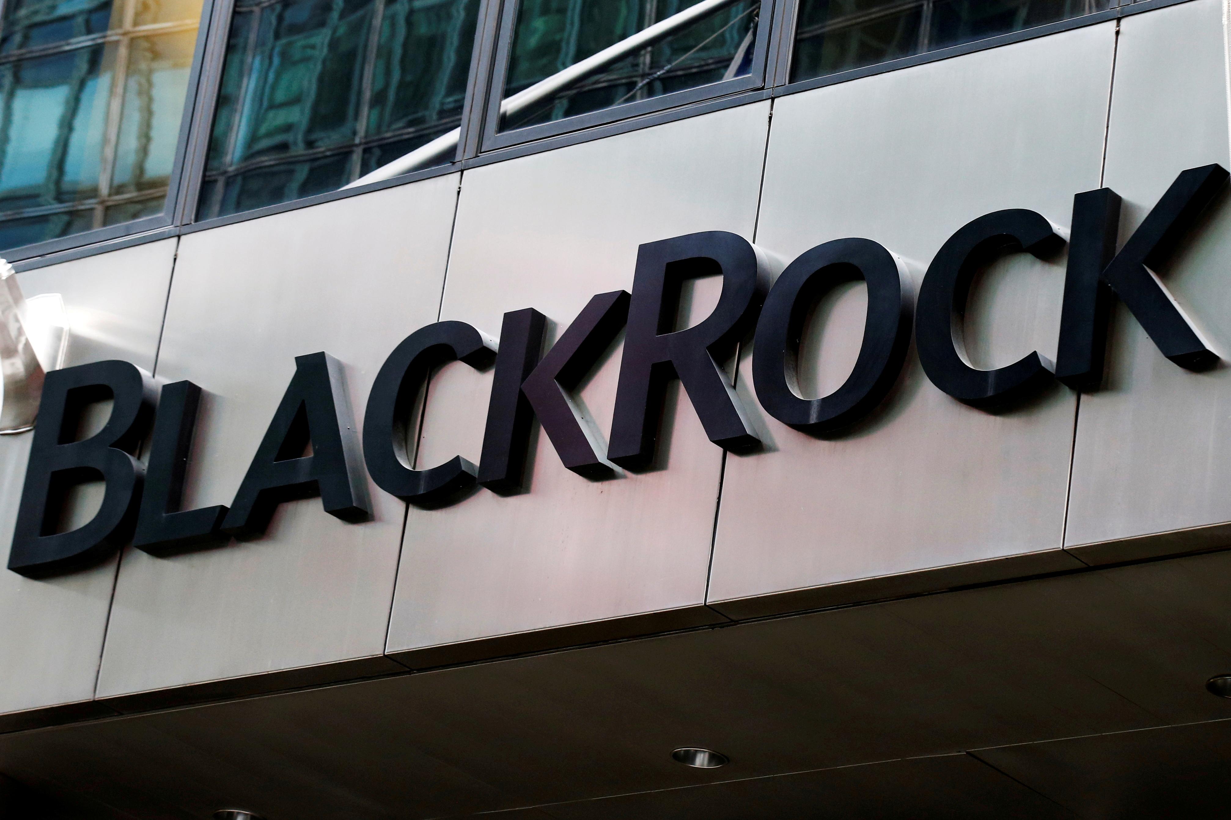 The BlackRock logo is seen outside of its offices in New York City, U.S., October 17, 2016.  REUTERS/Brendan McDermid