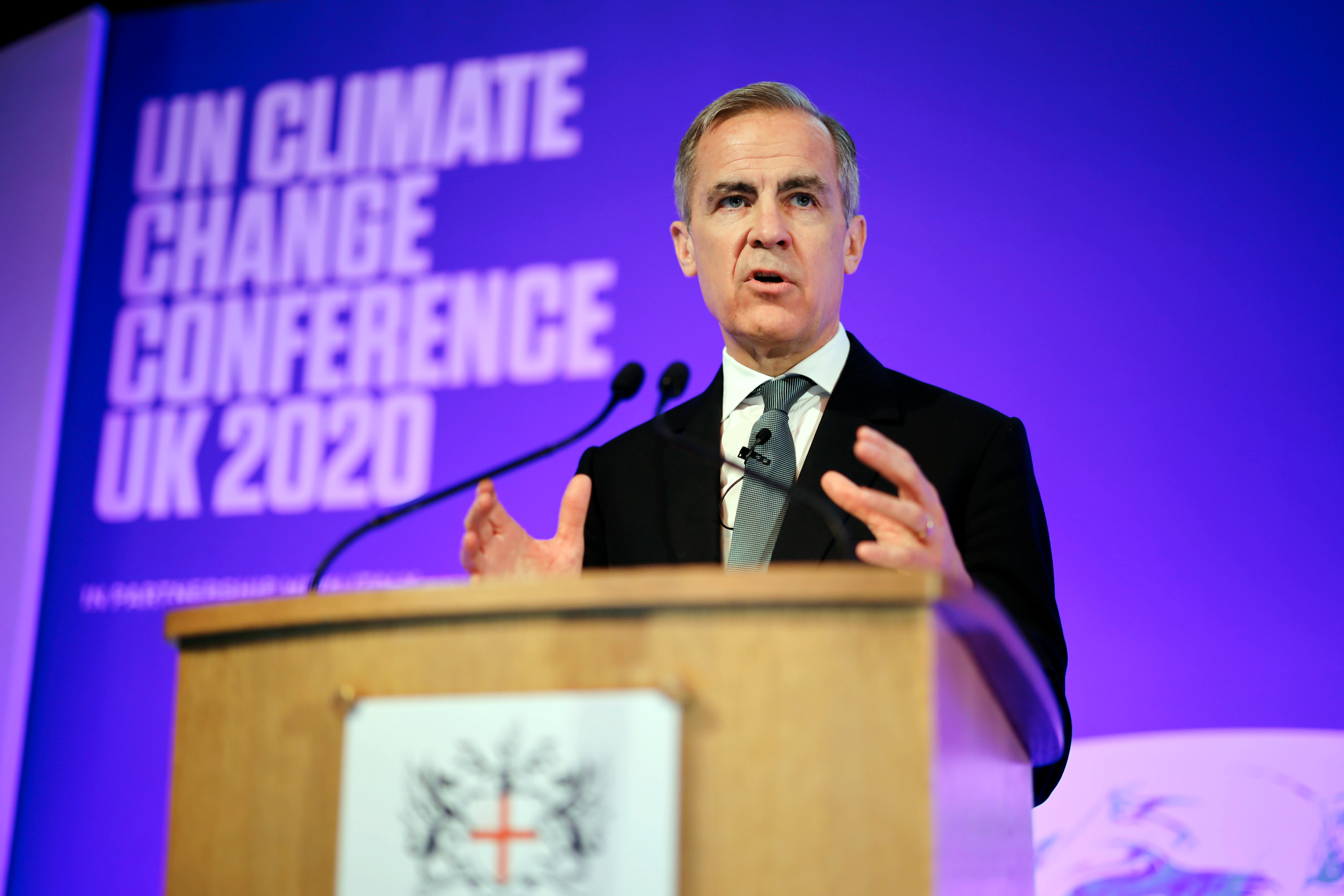 Mark Carney makes a keynote address to launch the private finance agenda for the 2020 United Nations Climate Change Conference (COP26) at Guildhall in London, Britain February 27, 2020.