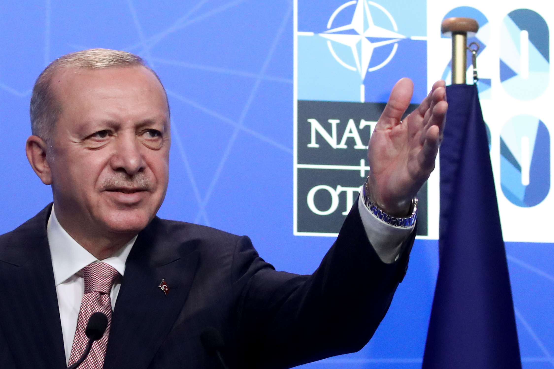 Turkey's President Tayyip Erdogan holds a news conference during the NATO summit at the Alliance's headquarters in Brussels, Belgium June 14, 2021. REUTERS/Yves Herman/Pool
