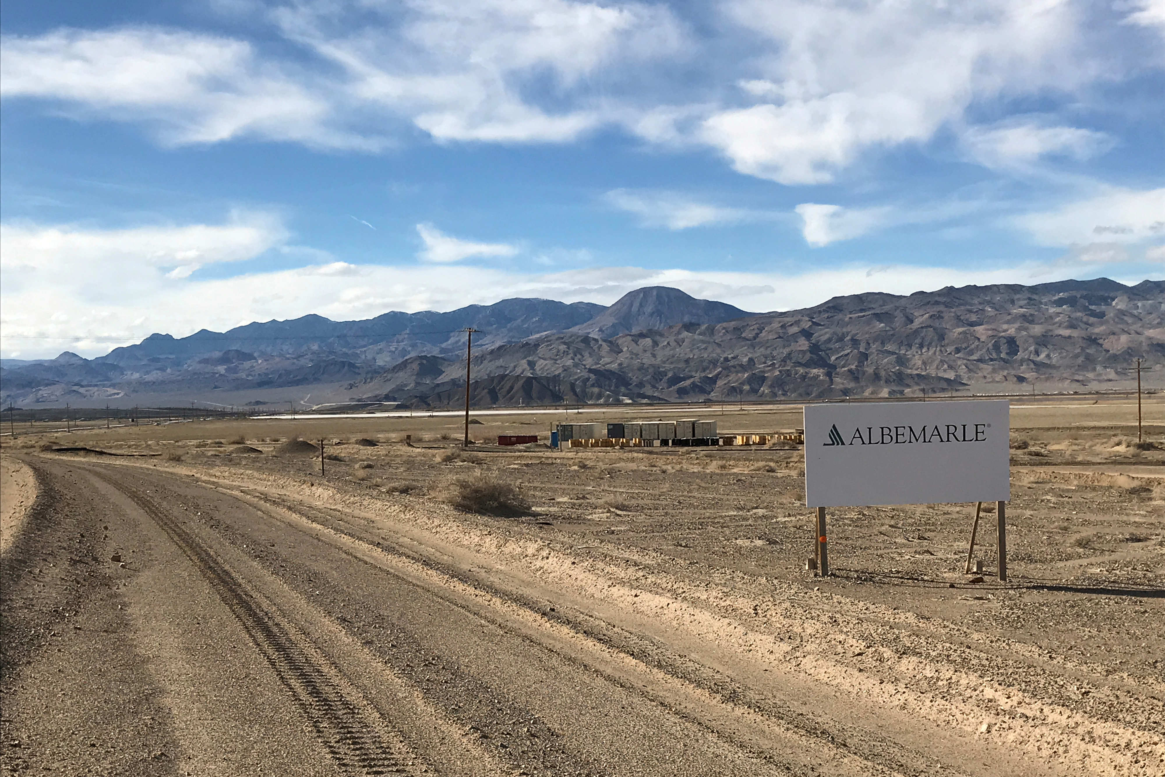 A sign at the approach road leads to Albemarle's lithium evaporation ponds at its facility in Silver Peak, Nevada, U.S., January 9, 2019.  REUTERS/Ernest Scheyder