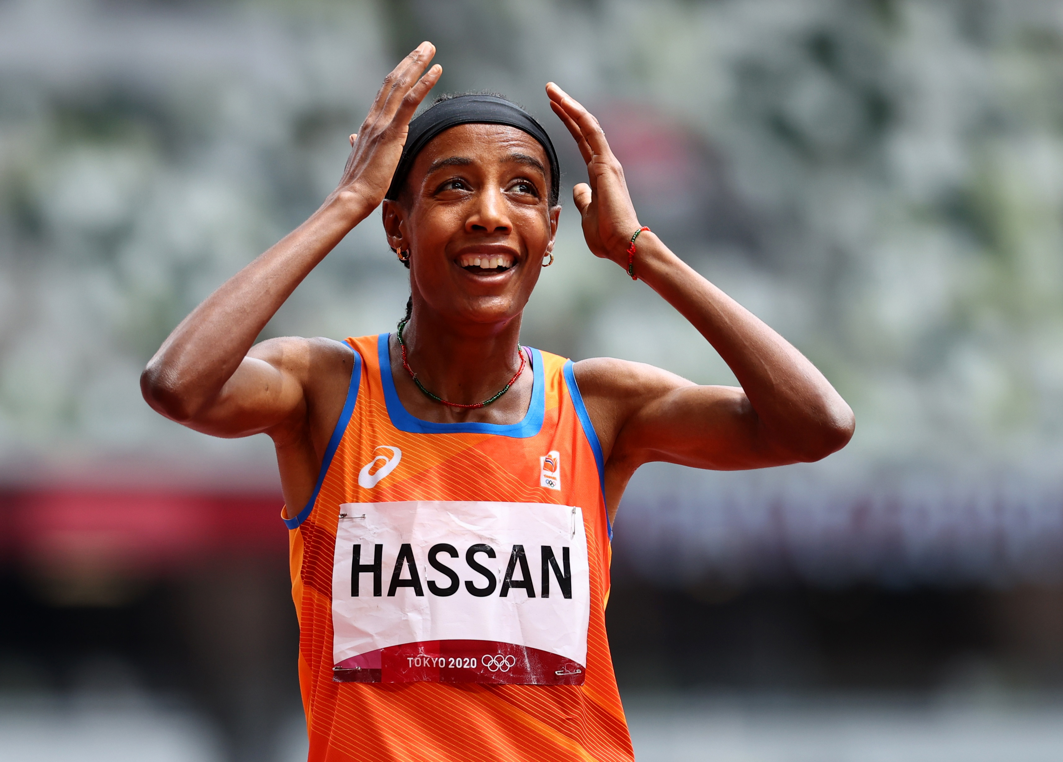 Tokyo 2020 Olympics - Athletics - Women's 1500m - Round 1- OLS - Olympic Stadium, Tokyo, Japan - August 2, 2021. Sifan Hassan of the Netherlands reacts after competing REUTERS/Lucy Nicholson - SP1EH8202TZ5J