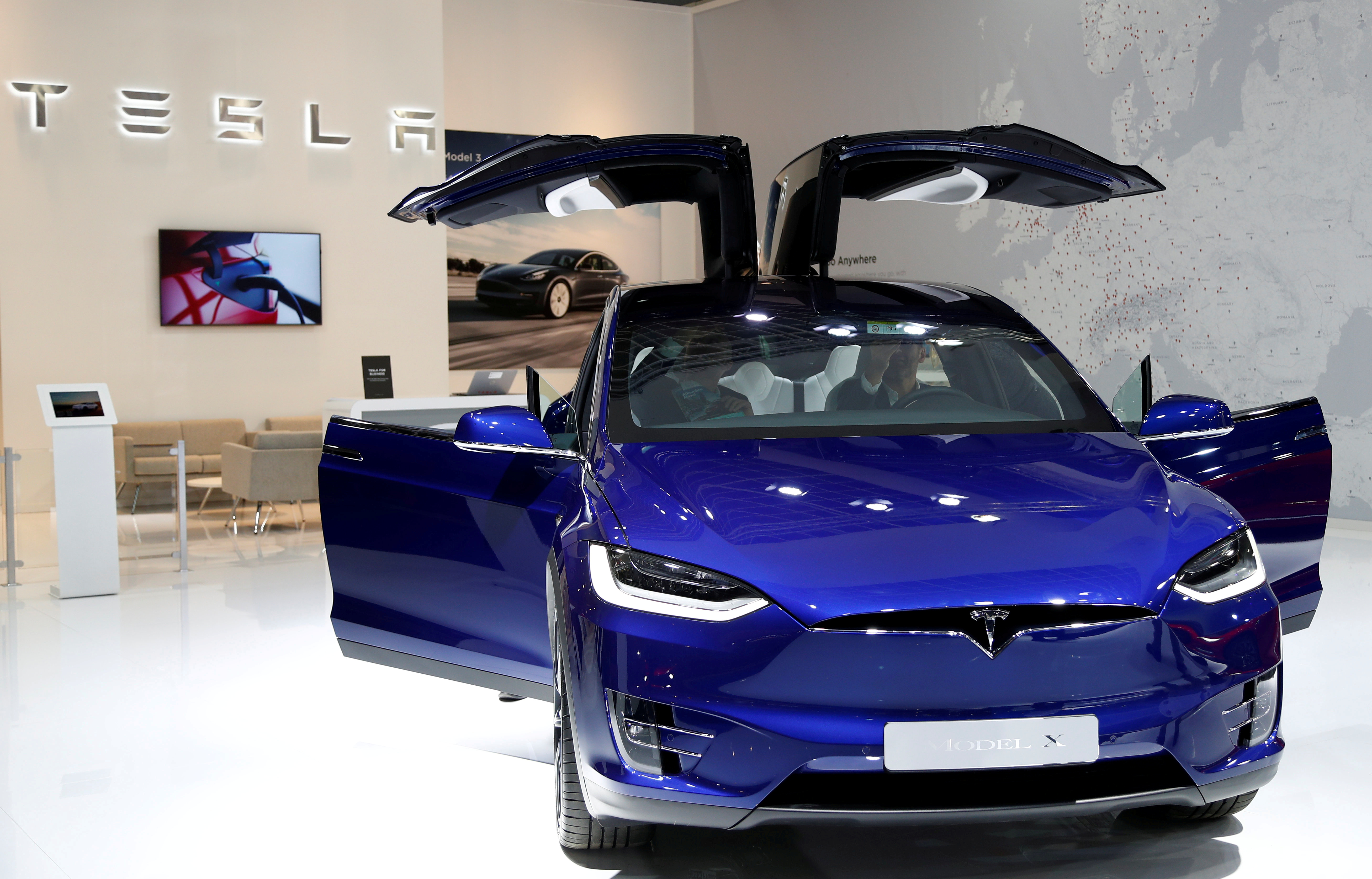A Tesla Model X electric car is seen at the Brussels Motor Show, Belgium, January 9, 2020. REUTERS/Francois Lenoir/File Photo