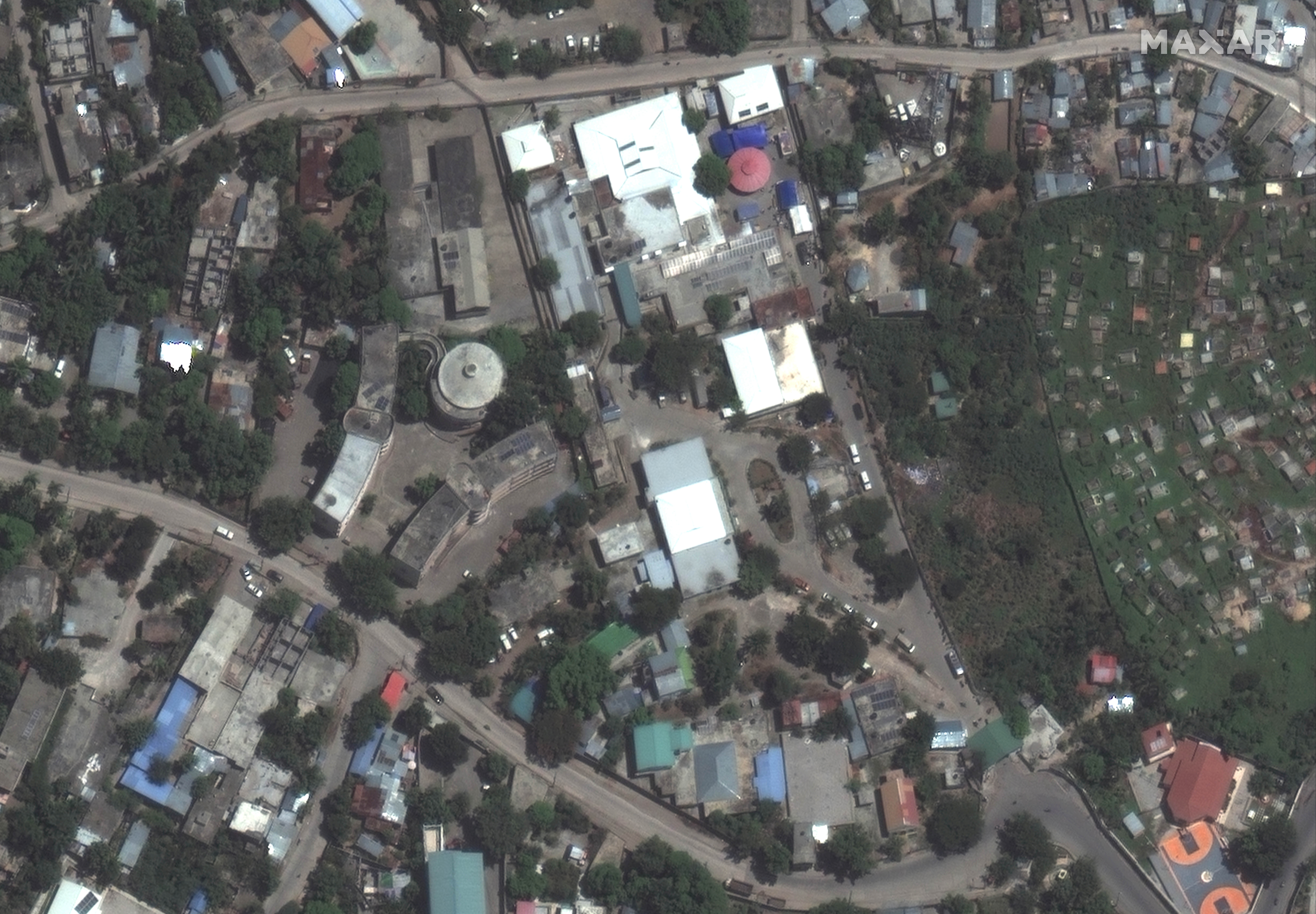 A satellite image shows the Saint Antoine Hospital in Jeremie, after a 7.2 magnitude earthquake struck Haiti, August 15, 2021. SATELLITE IMAGE 2021 MAXAR TECHNOLOGIES/Handout via REUTERS