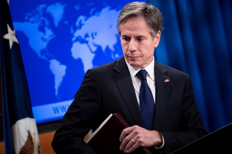 U.S. Secretary of State Antony Blinken leaves after speaking during a briefing at the State Department in Washington, U.S. August 2, 2021. Brendan Smialowski/Pool via REUTERS/File Photo