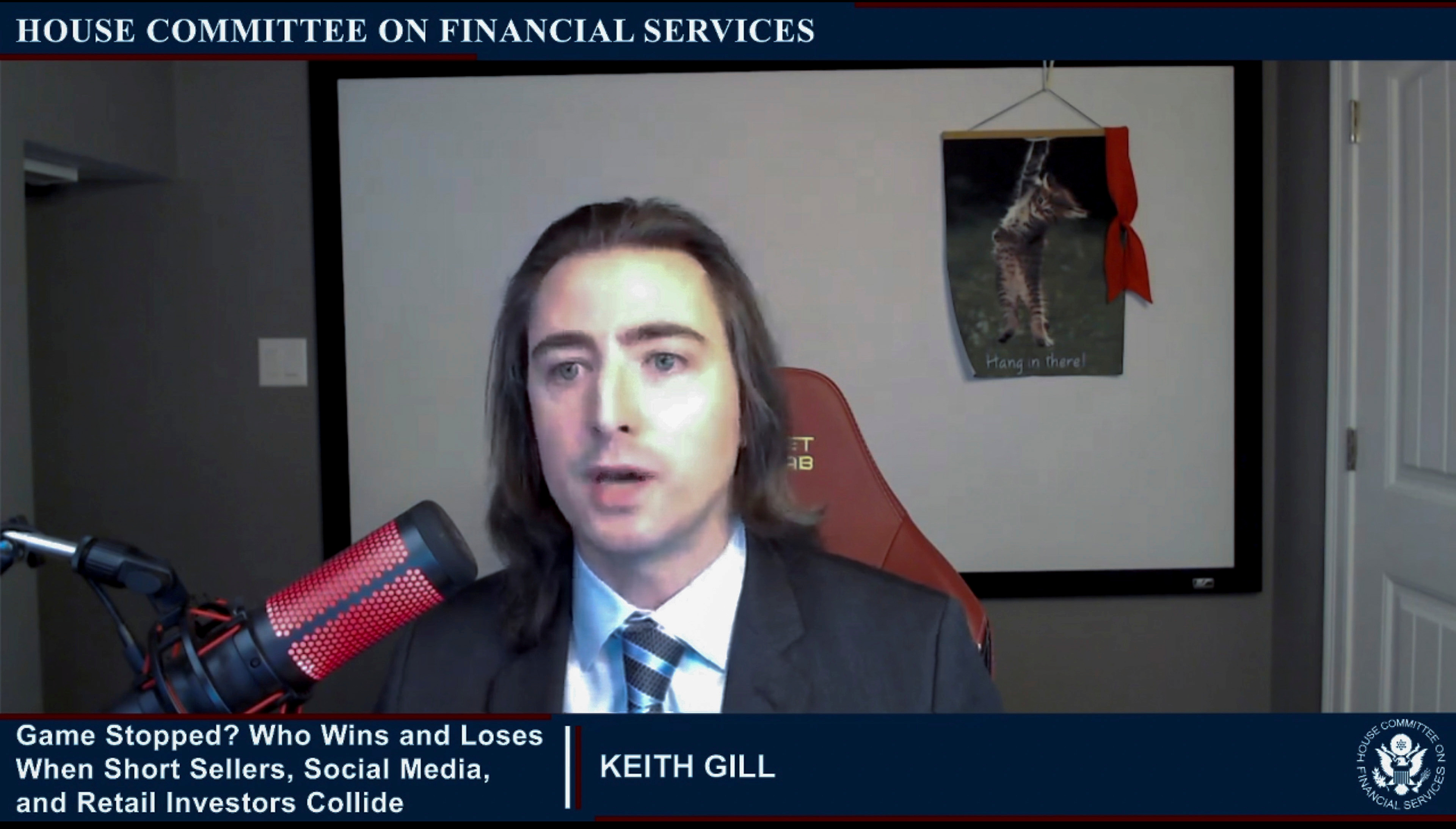 """Keith Gill, an individual online investor in GameStop, testifies during an entirely virtual hearing of the U.S. House of Representatives Committee on Financial Services entitled """"Game Stopped? Who Wins and Loses When Short Sellers, Social Media, and Retail Investors Collide?"""", in Washington, February 18, 2021.   House Committee on Financial Services/Handout via Reuters"""