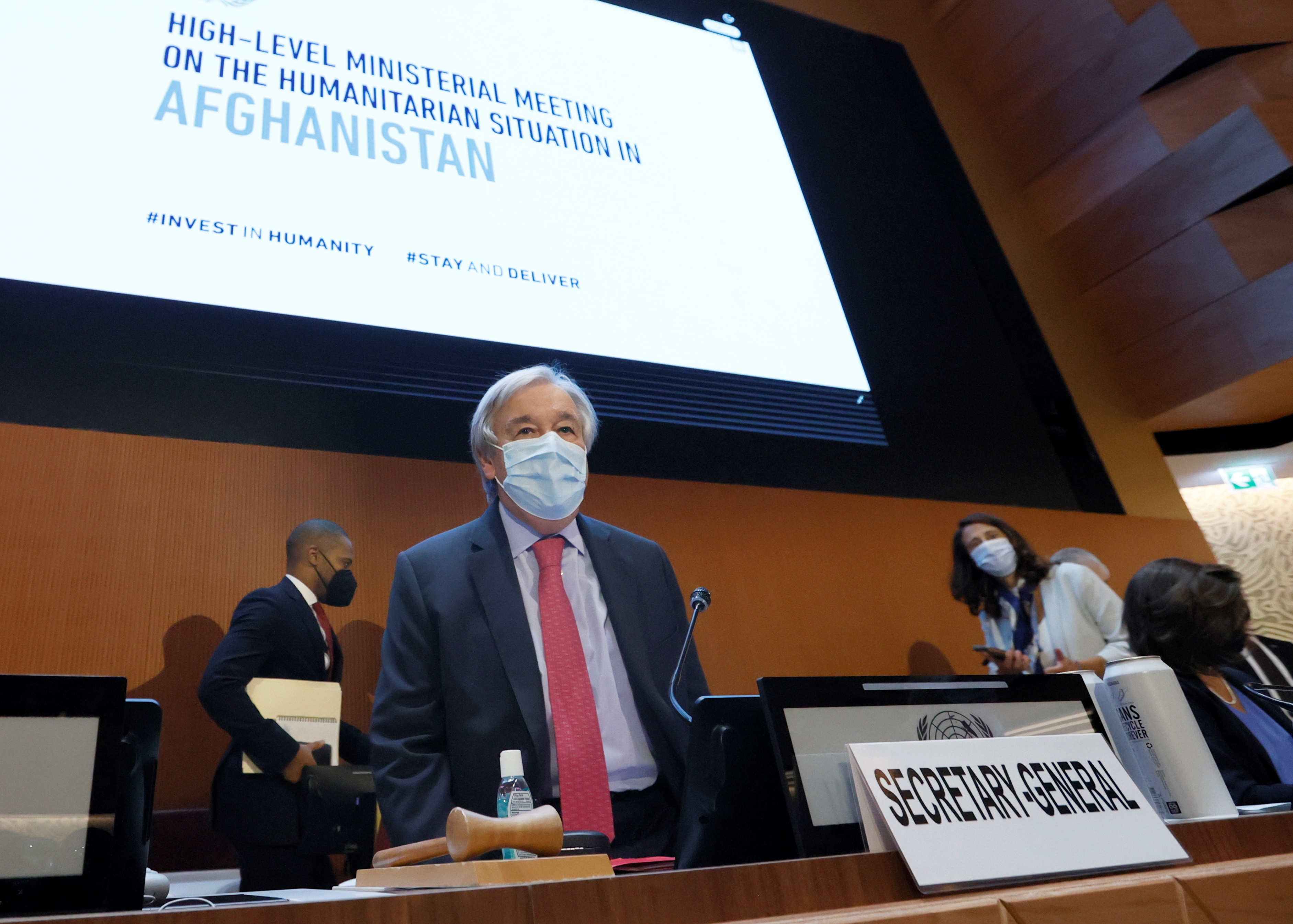 U.N. Secretary-General Antonio Guterres arrives to atend an aid conference for Afghanistan at the United Nations in Geneva, Switzerland, September 13, 2021. REUTERS/Denis Balibouse