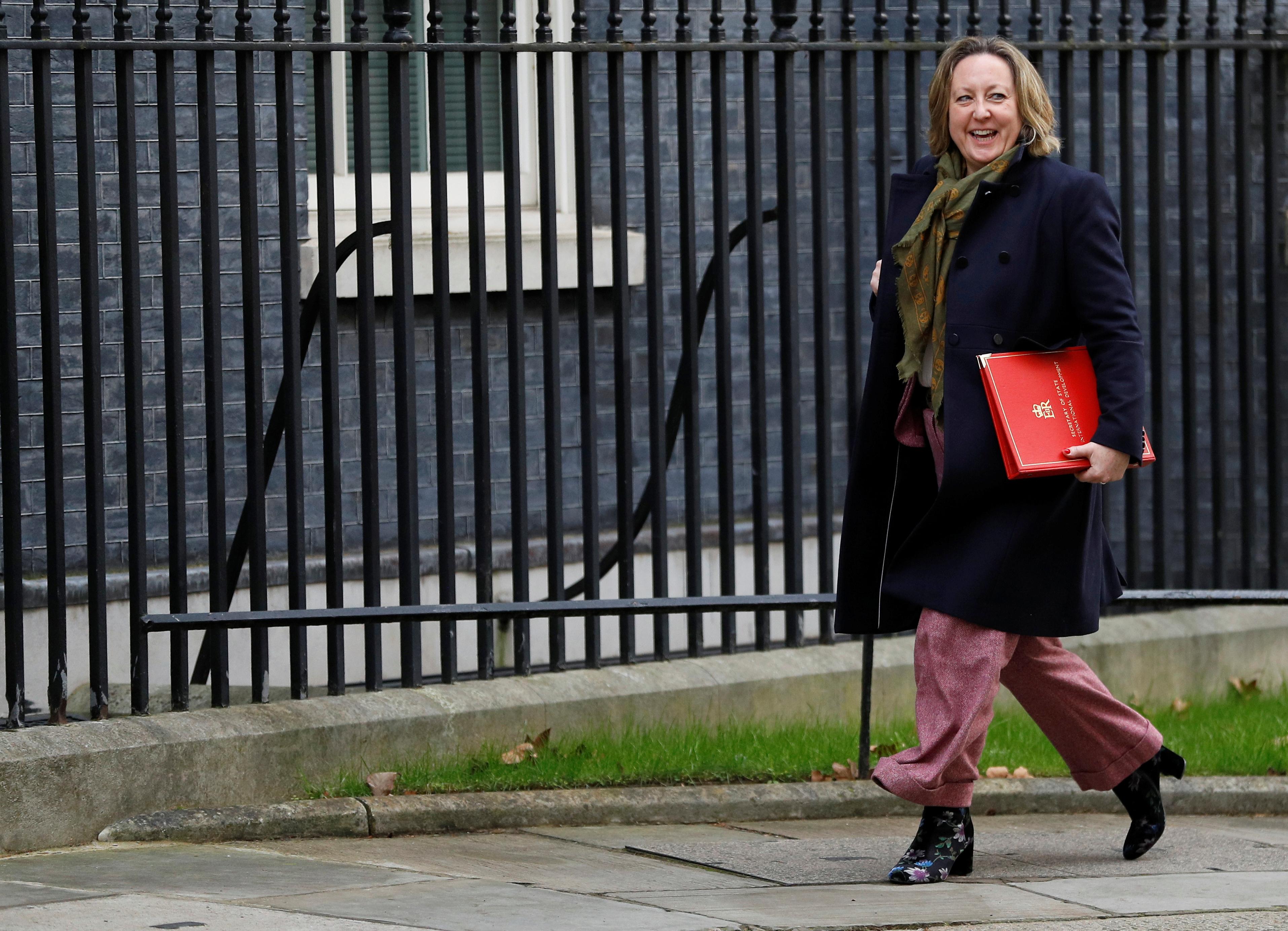 Britain's Secretary of State for International Development Anne-Marie Trevelyan is seen outside Downing Street in London, Britain, February 14, 2020. REUTERS/Peter Nicholls