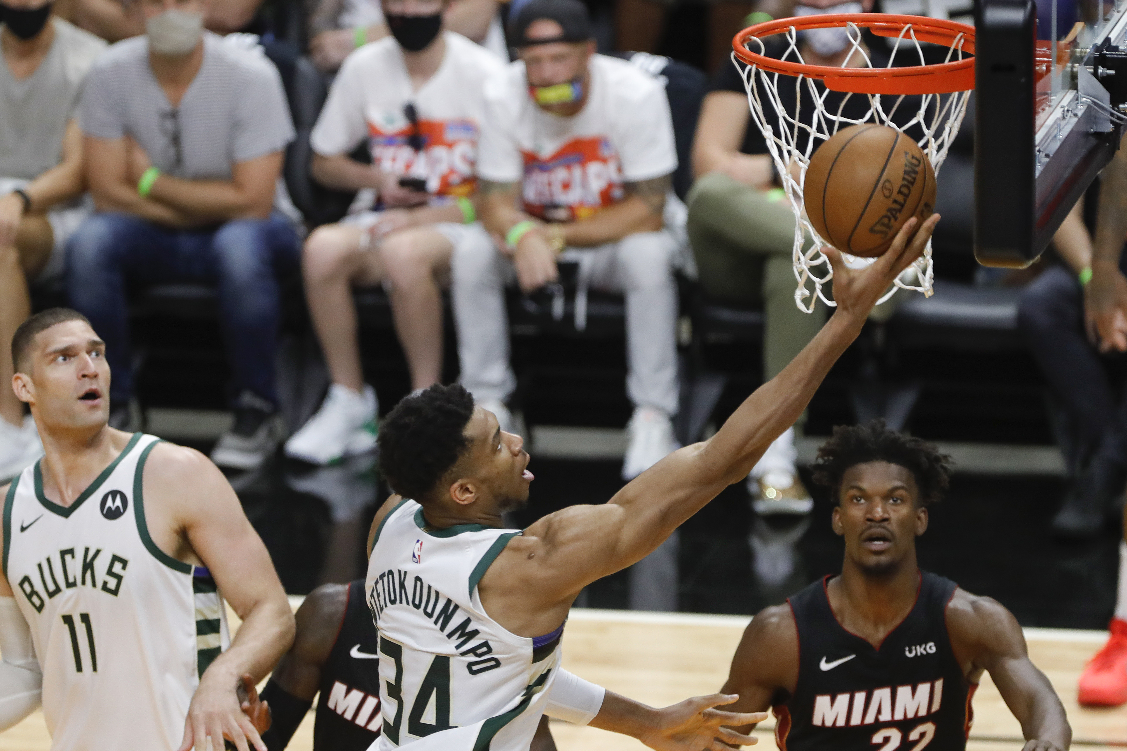 May 29, 2021; Miami, Florida, USA; Milwaukee Bucks forward Giannis Antetokounmpo (34) shoots the ball against the Miami Heat during the fourth quarter of game four in the first round of the 2021 NBA Playoffs at American Airlines Arena. Mandatory Credit: Sam Navarro-USA TODAY Sports