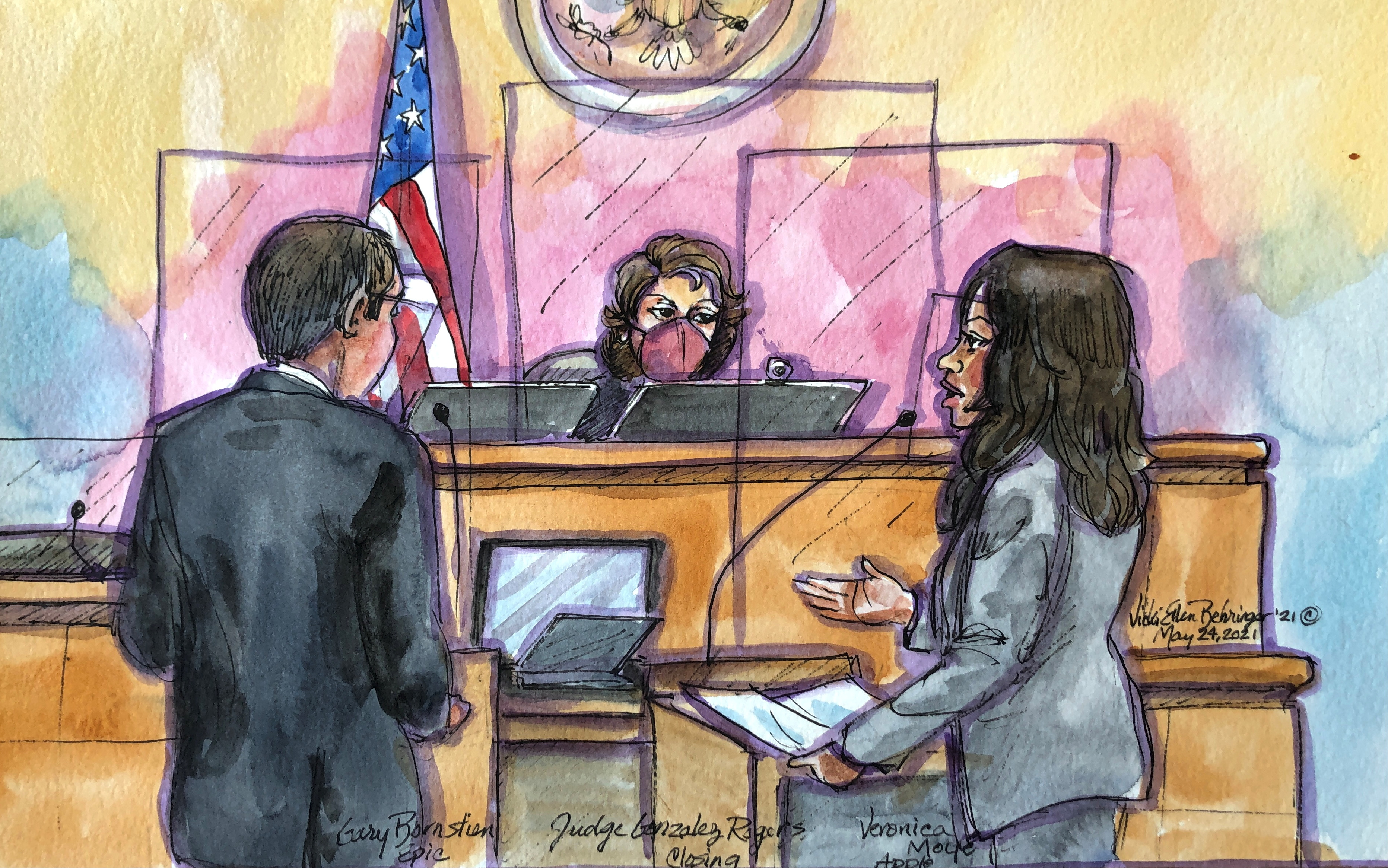 Apple attorney Veronica Moye and Gary Bornstien from Epic speak with Judge Yvonne Gonzalez Rogers during a weeks-long antitrust trial at federal court in Oakland, California, U.S. May 24, 2021 in this courtroom sketch.  REUTERS/Vicki Behringer