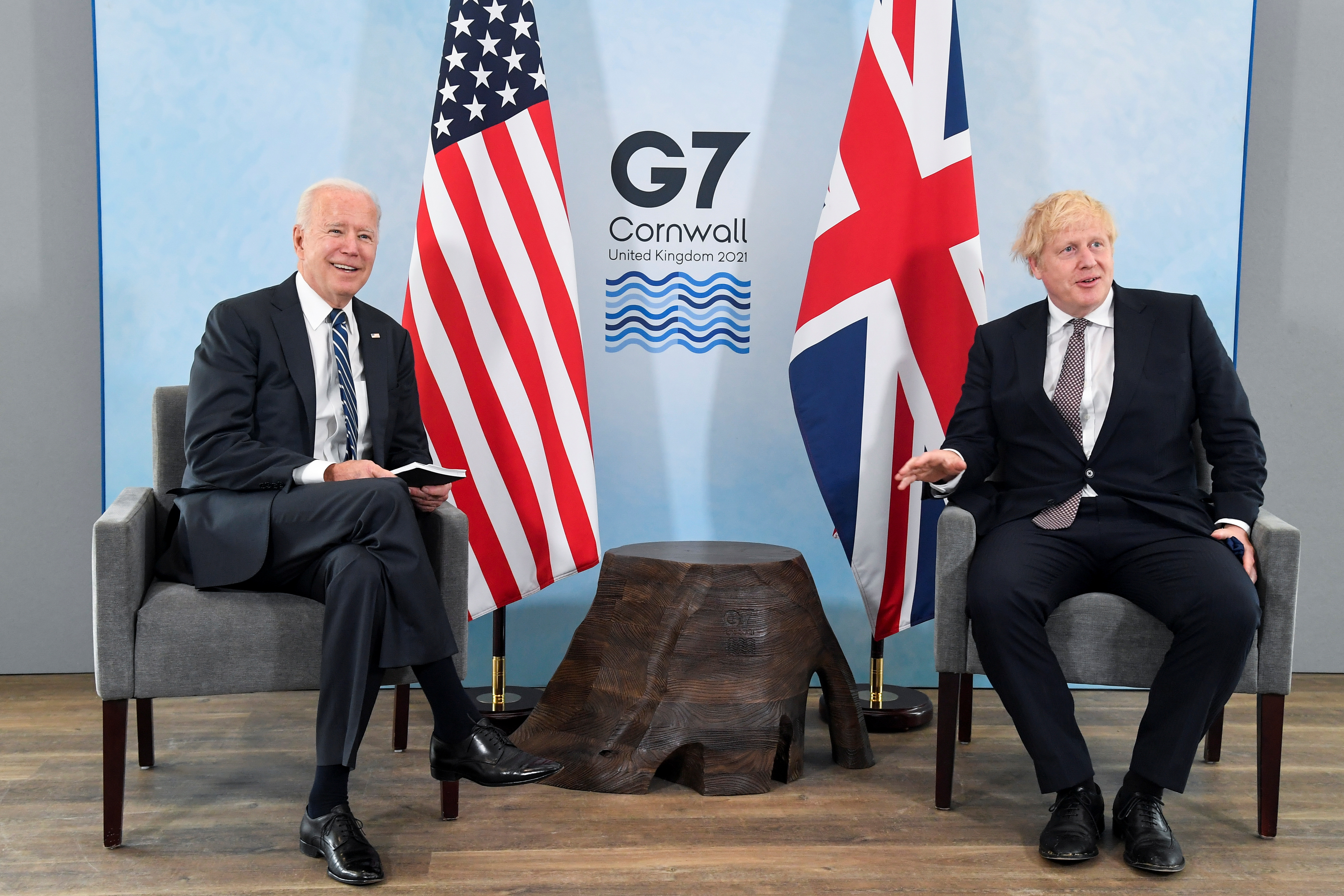 Britain's Prime Minister Boris Johnson meets with U.S. President Joe Biden, ahead of the G7 summit, at Carbis Bay, Cornwall, Britain June 10, 2021. REUTERS/Toby Melville/Pool