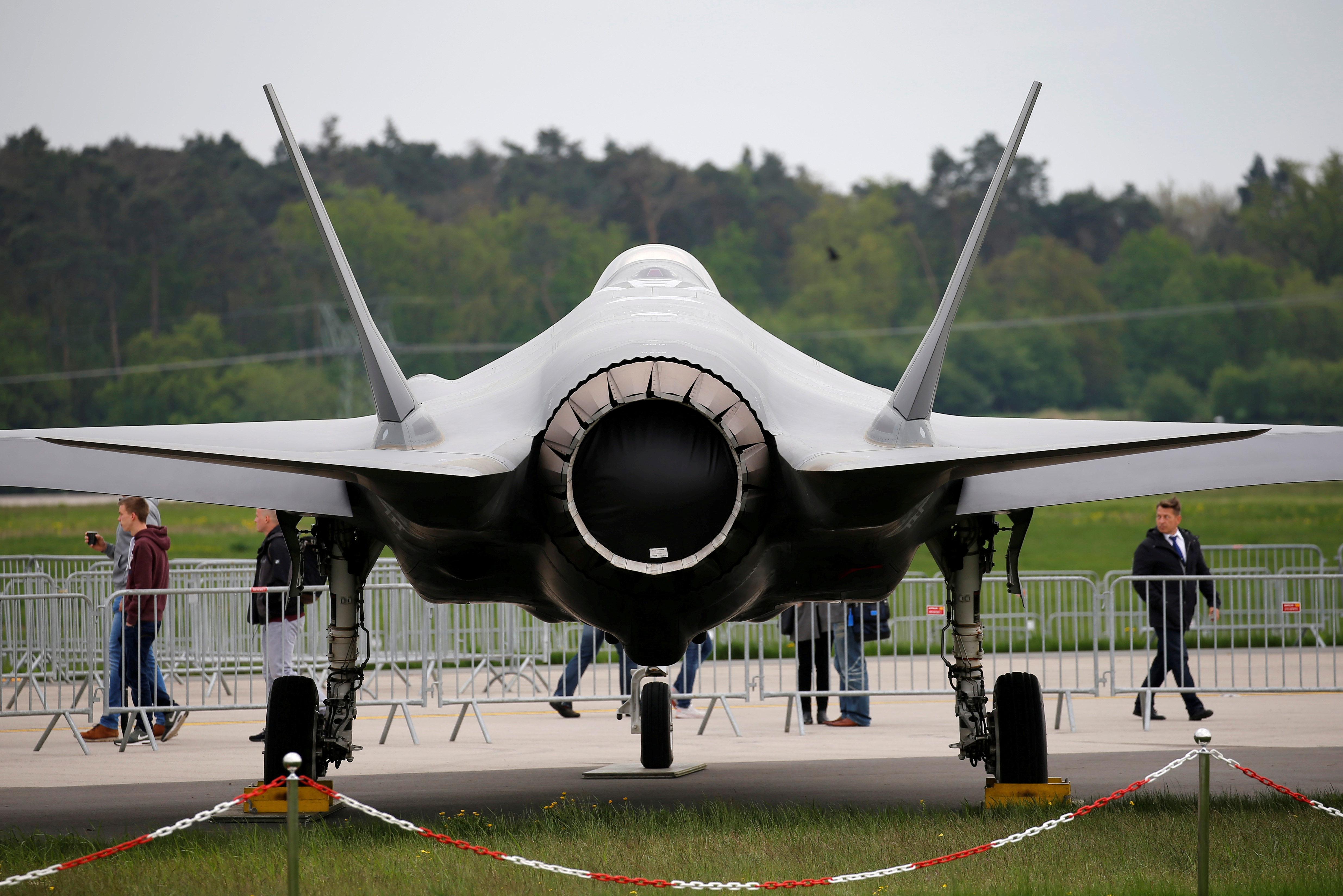A Lockheed Martin F-35 aircraft is seen at the ILA Air Show in Berlin, Germany, April 25, 2018.  REUTERS/Axel Schmidt