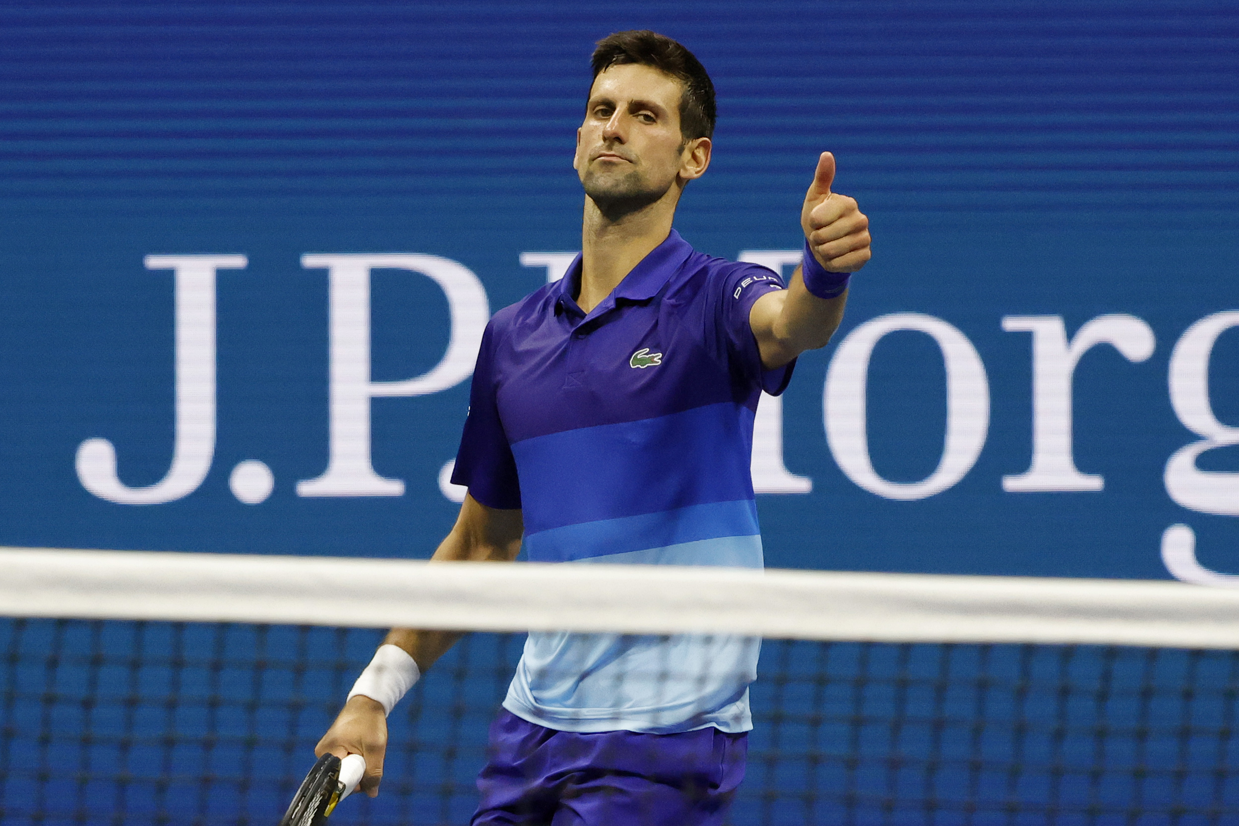 Sep 6, 2021; Flushing, NY, USA; Novak Djokovic of Serbia gestures after a point against Jenson Brooksby of the United States (not pictured) on day eight of the 2021 U.S. Open tennis tournament at USTA Billie Jean King National Tennis Center. Mandatory Credit: Geoff Burke-USA TODAY Sports