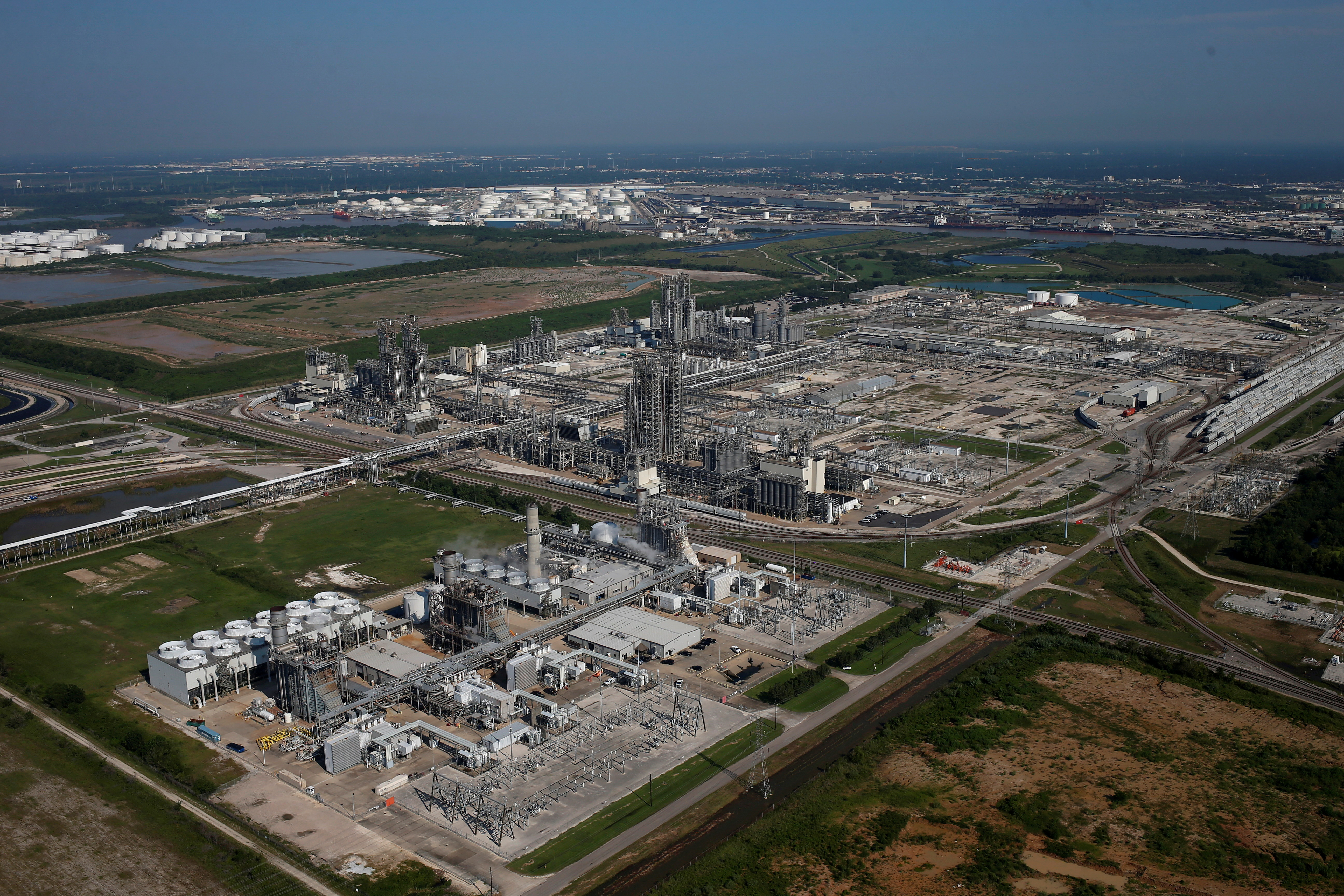 An aerial view of Chevron Phillips Chemical Co is seen in Pasadena, Texas, U.S. August 31, 2017. REUTERS/Adrees Latif/File Photo