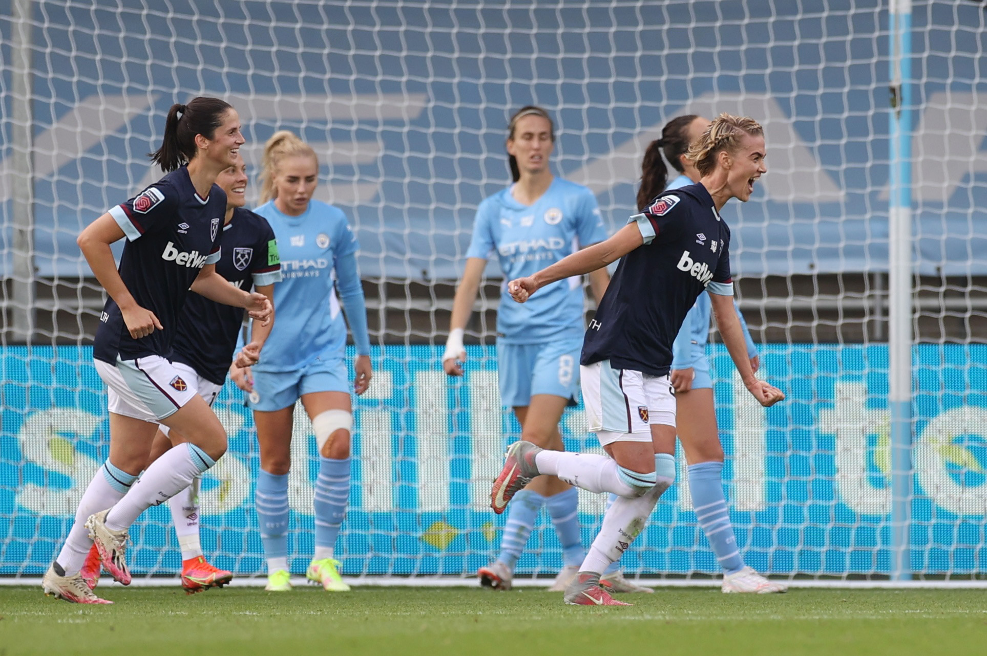 Soccer Football - Women's Super League - Manchester City v West Ham United - Manchester City Academy Stadium, Manchester, Britain - October 3, 2021 West Ham United's Dagny Brynjarsdottir celebrates scoring their first goal Action Images via Reuters/Lee Smith