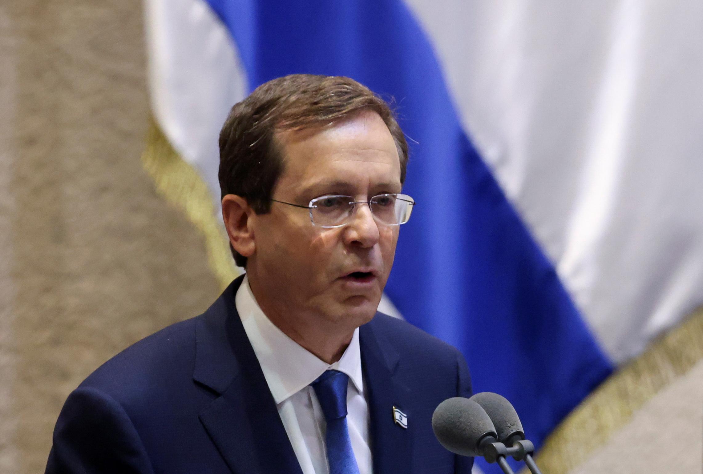 Israeli President Isaac Herzog speaks at the Knesset, Israeli parliament, in Jerusalem July 7, 2021. REUTERS/Ronen Zvulun