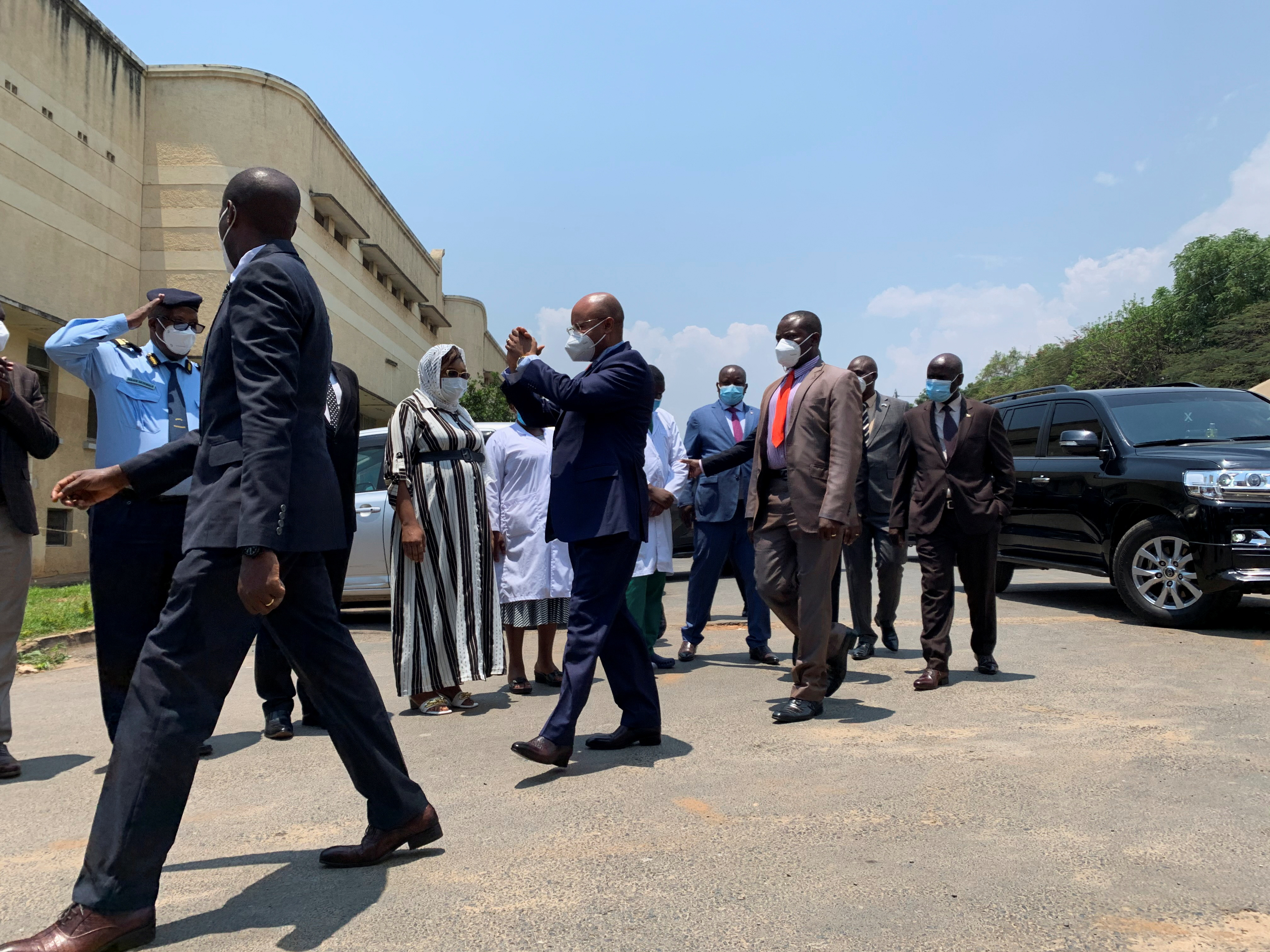 Burundi's Prime Minister Alain-Guillaume Bunyoni gestures as he arrives at the Prince Regent Charles Hospital to visit the victims of an explosion that killed at least five people and injured 50, in Bujumbura, Burundi September 21, 2021. REUTERS/Guy Senga
