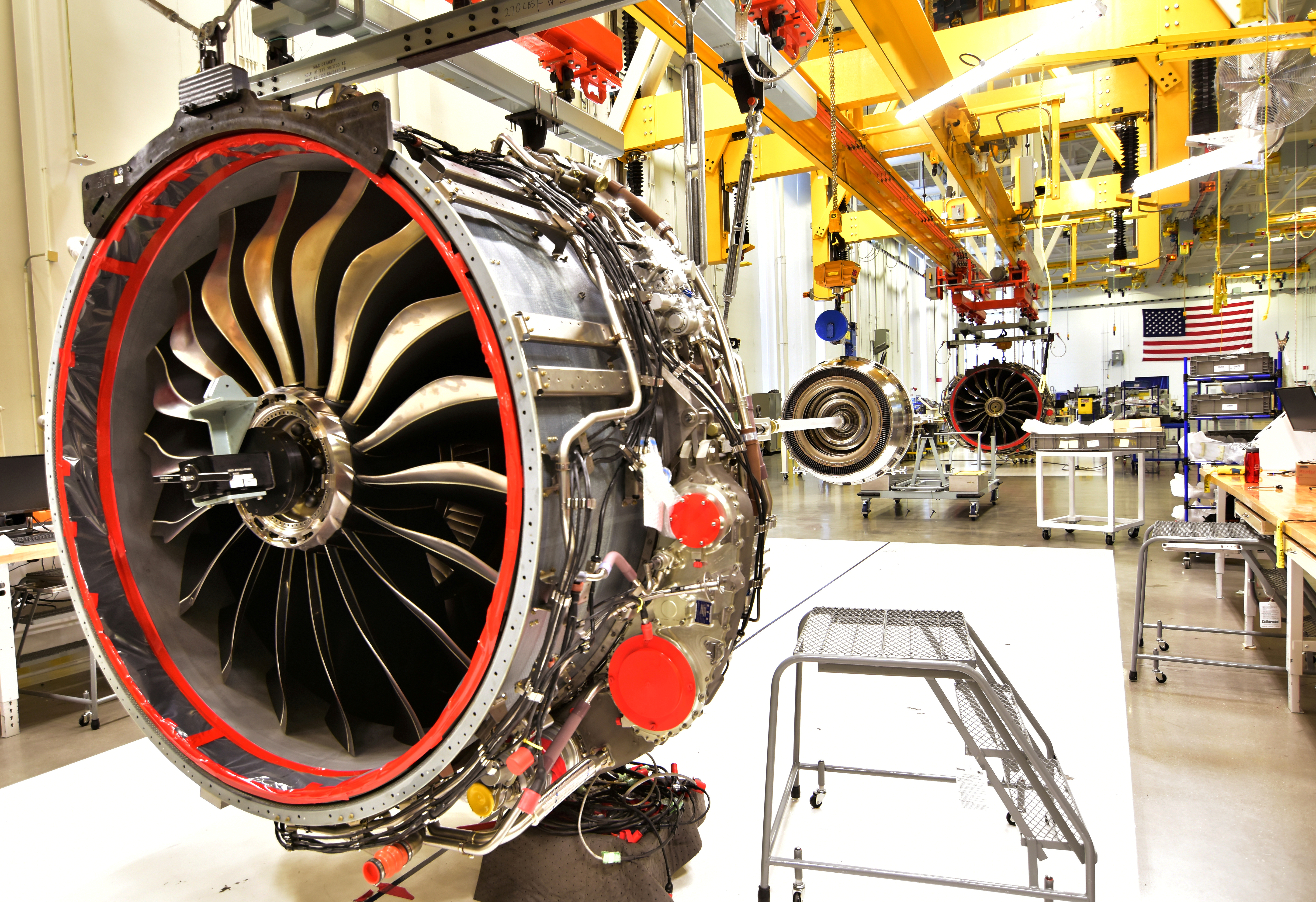 Technicians build LEAP engines for jetliners at a General Electric (GE) factory in Lafayette, Indiana, U.S. on March 29, 2017.  REUTERS/Alwyn Scott