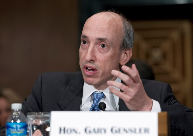 Gary Gensler, new chairman of the U.S. Securities and Exchange Commission, testifies at a Senate Banking, Housing and Urban Affairs Committee hearing - long before he took the SEC post - on Capitol Hill on July 30, 2013. REUTERS/Jose Luis Magana/File Photo