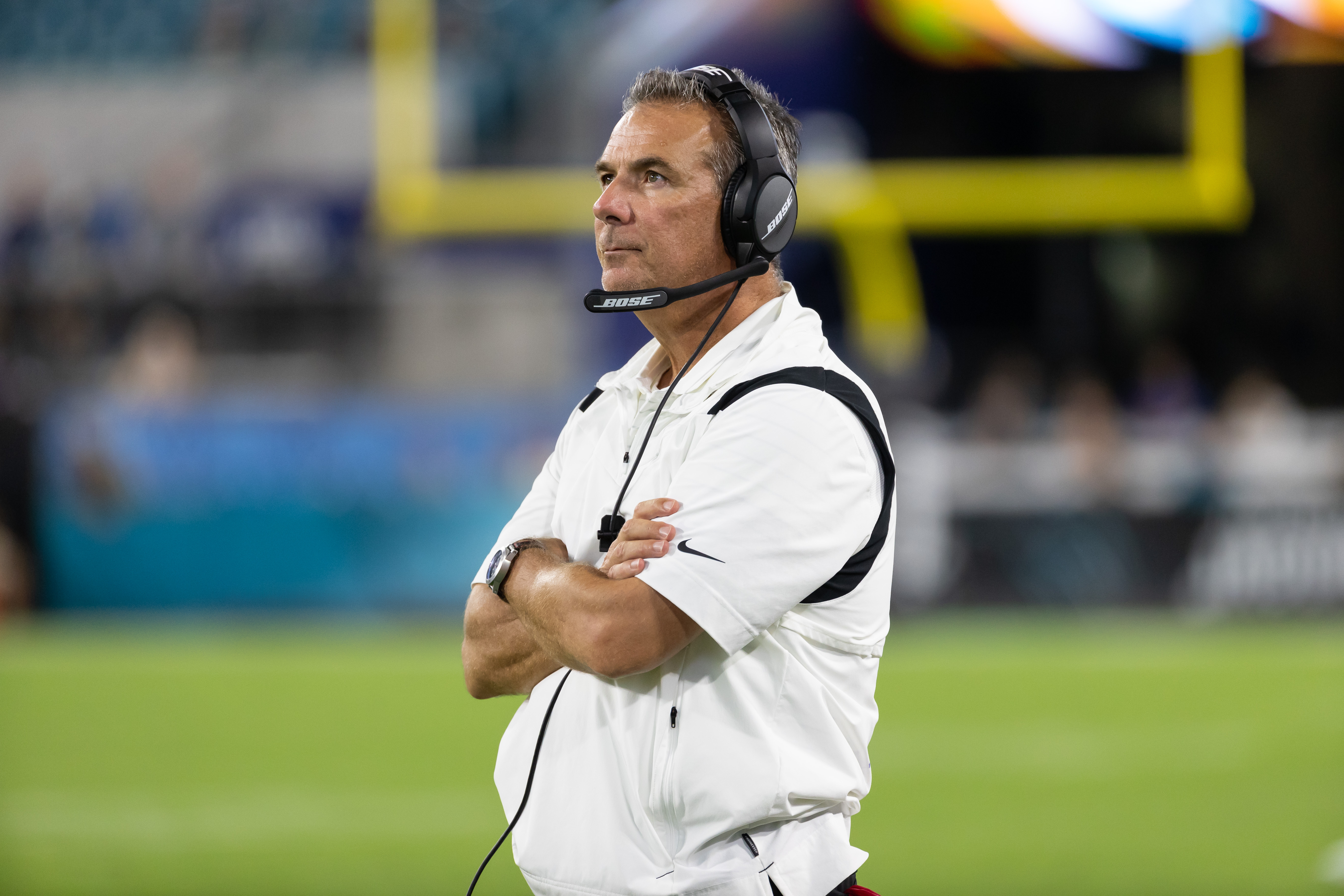 FILE PHOTO-Aug 14, 2021; Jacksonville, Florida, USA;  Jacksonville Jaguars head coach Urban Meyer looks at the clock in the fourth quarter against the Cleveland Browns at TIAA Bank Field. Mandatory Credit: Matt Pendleton-USA TODAY Sports