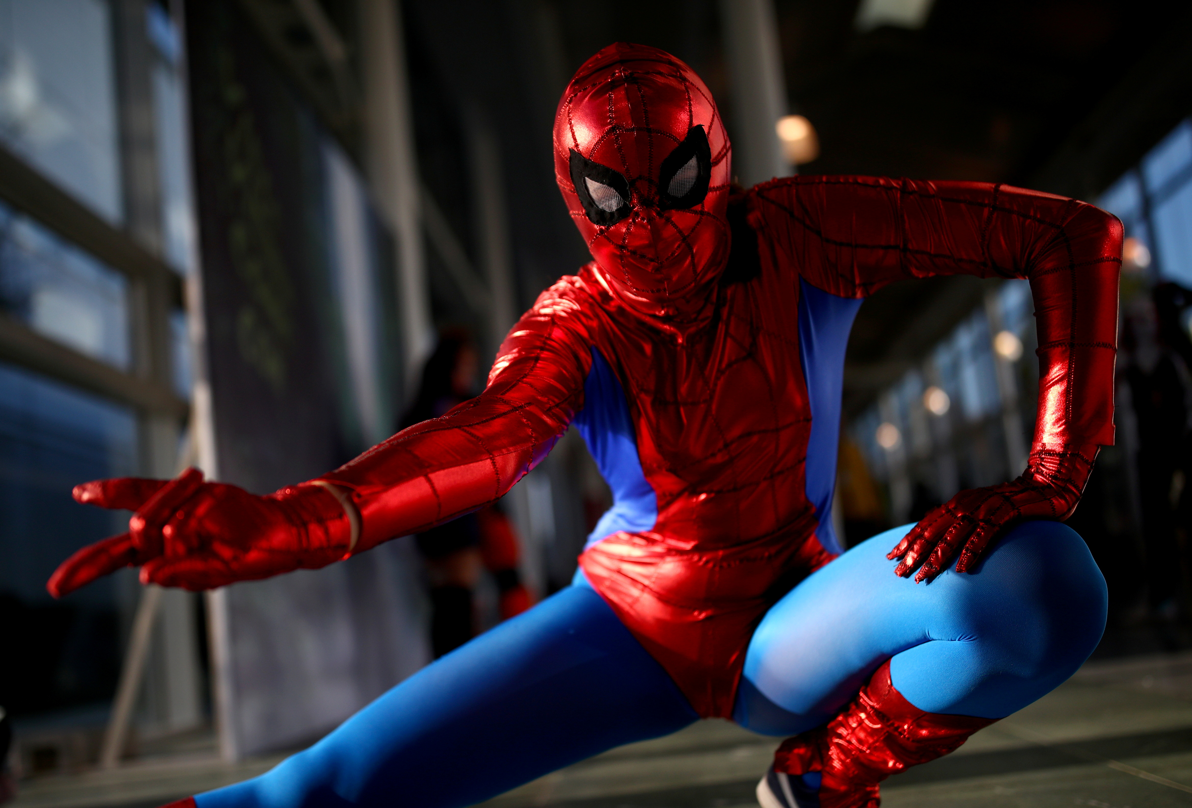 A cosplayer costumed as Spider-Man poses during the Vienna Comic Con, Austria, November 17, 2018. REUTERS/Lisi Niesner