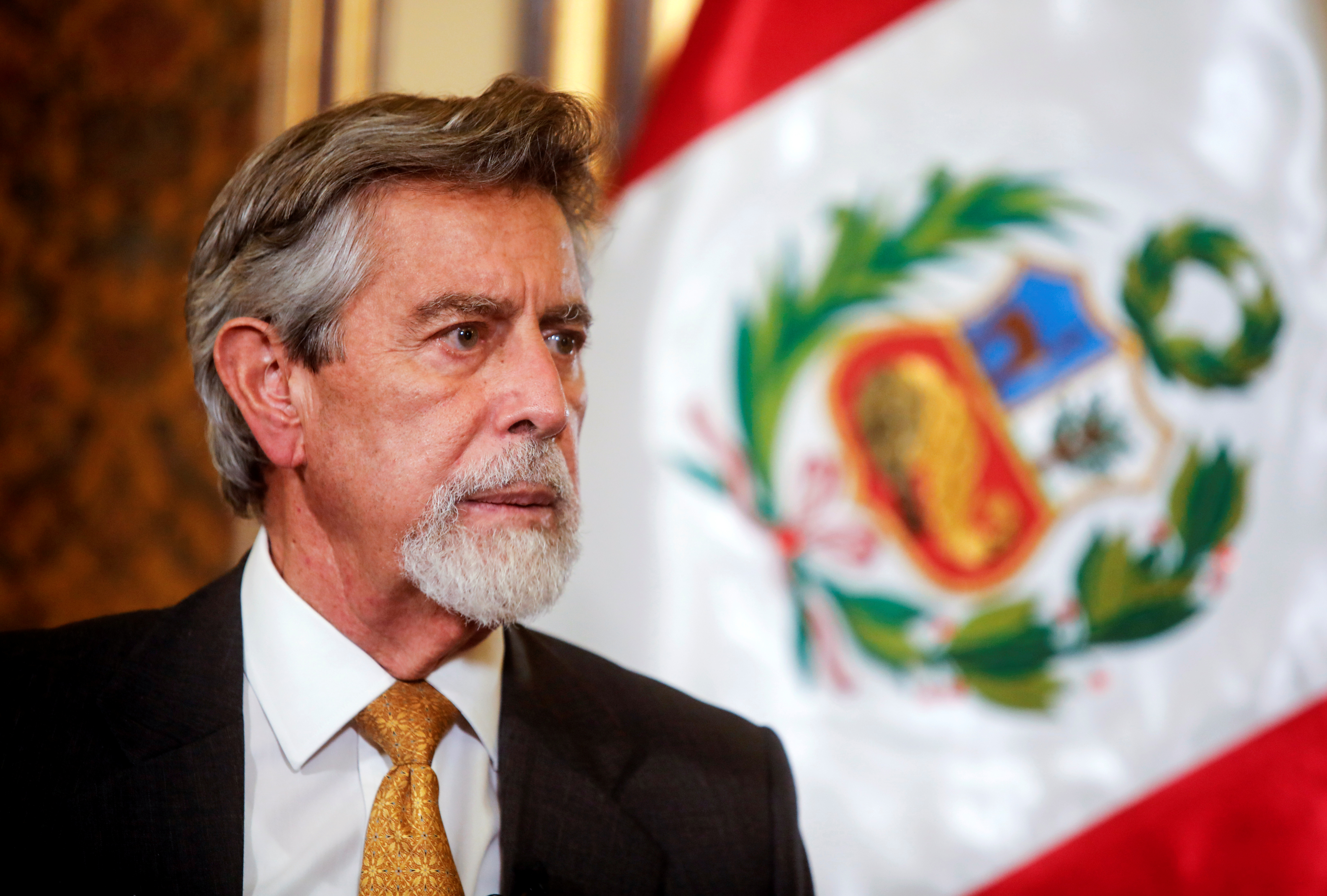 Peru's interim President Francisco Sagasti talks to Reuters, in Lima, Peru November 19, 2020. Picture taken November 19, 2020. REUTERS/Sebastian Castaneda