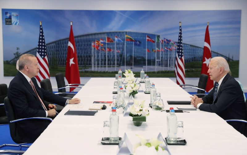 Turkish President Tayyip Erdogan and U.S. President Joe Biden attend a bilateral meeting on the sidelines of the NATO summit in Brussels, Belgium June 14, 2021. Murat Cetinmuhurdar/Presidential Press Office/Handout via REUTERS