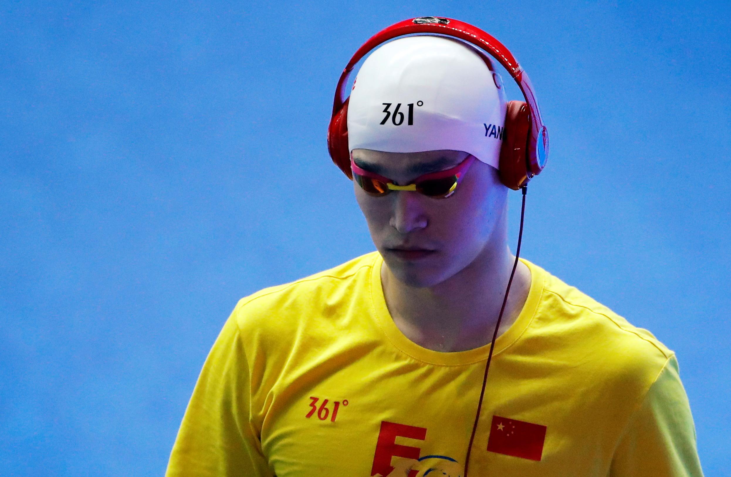 Swimming - 18th FINA World Swimming Championships - Men's 800m Freestyle Final - Nambu University Municipal Aquatics Center, Gwangju, South Korea - July 24, 2019. Sun Yang of China before the race. REUTERS/Stefan Wermuth