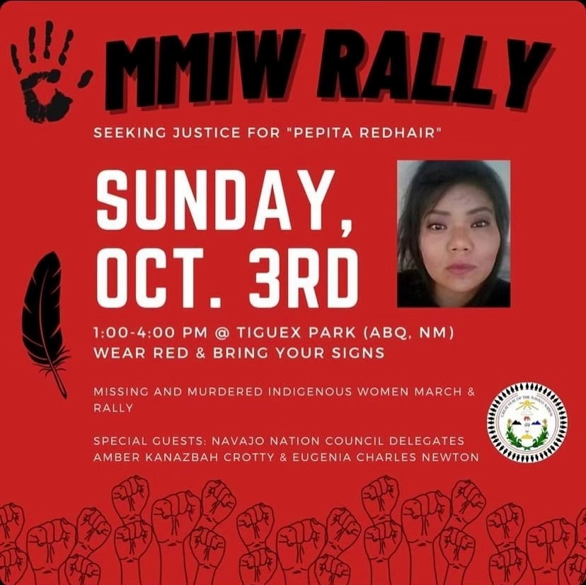 Flyer for rally seeking justice for Navajo woman Pepita Redhair who went missing in March 2020 in Albuquerque, New Mexico, in this handout photo released September 24, 2021. Coalition To Stop Violence Against Native Women/Handout via REUTERS