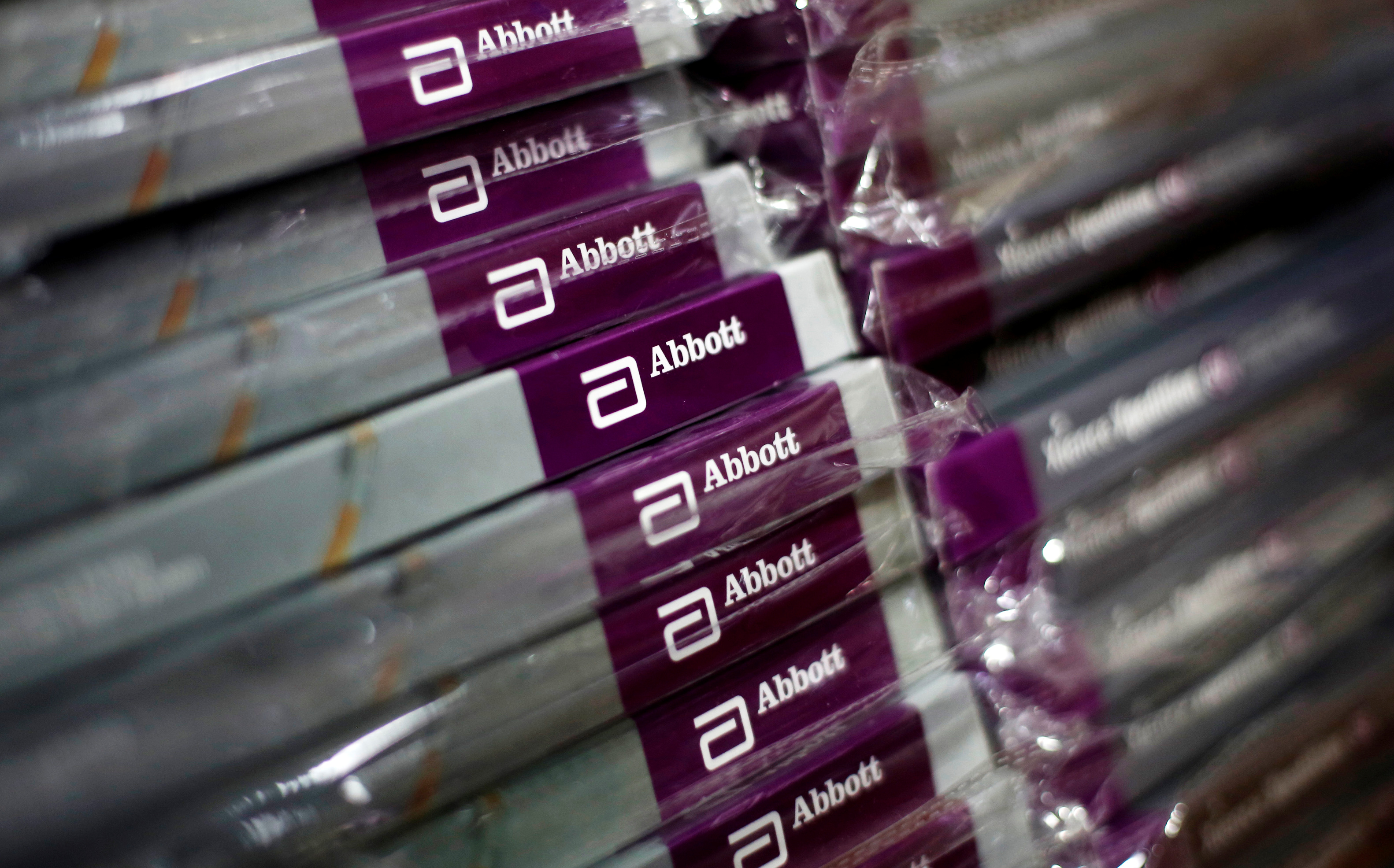 Boxes of Abbott's heart stents are pictured inside a store at a hospital in New Delhi, India, April 27, 2018. Picture taken April 27, 2018. REUTERS/Adnan Abidi