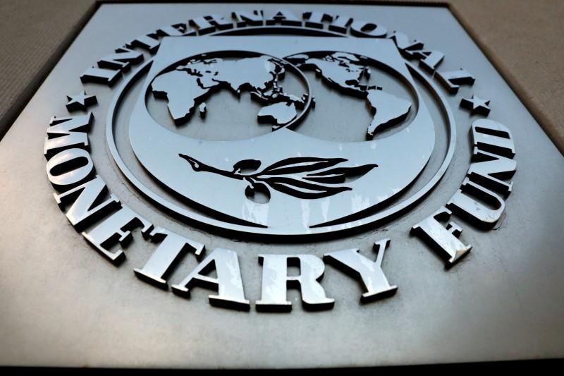 The International Monetary Fund (IMF) logo is seen outside the headquarters building in Washington, U.S., September 4, 2018. REUTERS/Yuri Gripas