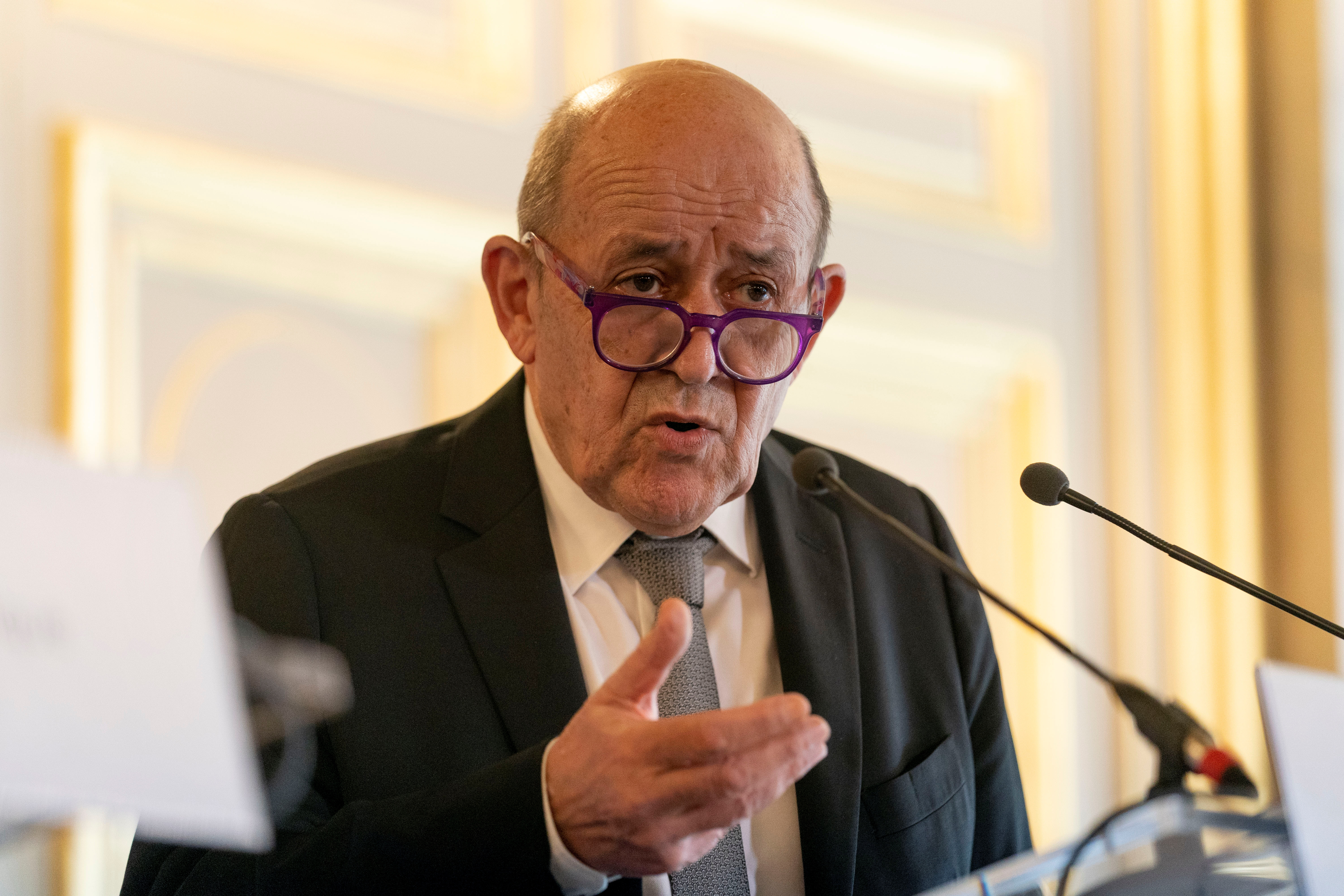 French Foreign Affairs Minister Jean-Yves Le Drian speaks during a news conference with U.S. Secretary of State Antony Blinken at the French Ministry of Foreign Affairs in Paris, France, June 25, 2021. Andrew Harnik/Pool via REUTERS
