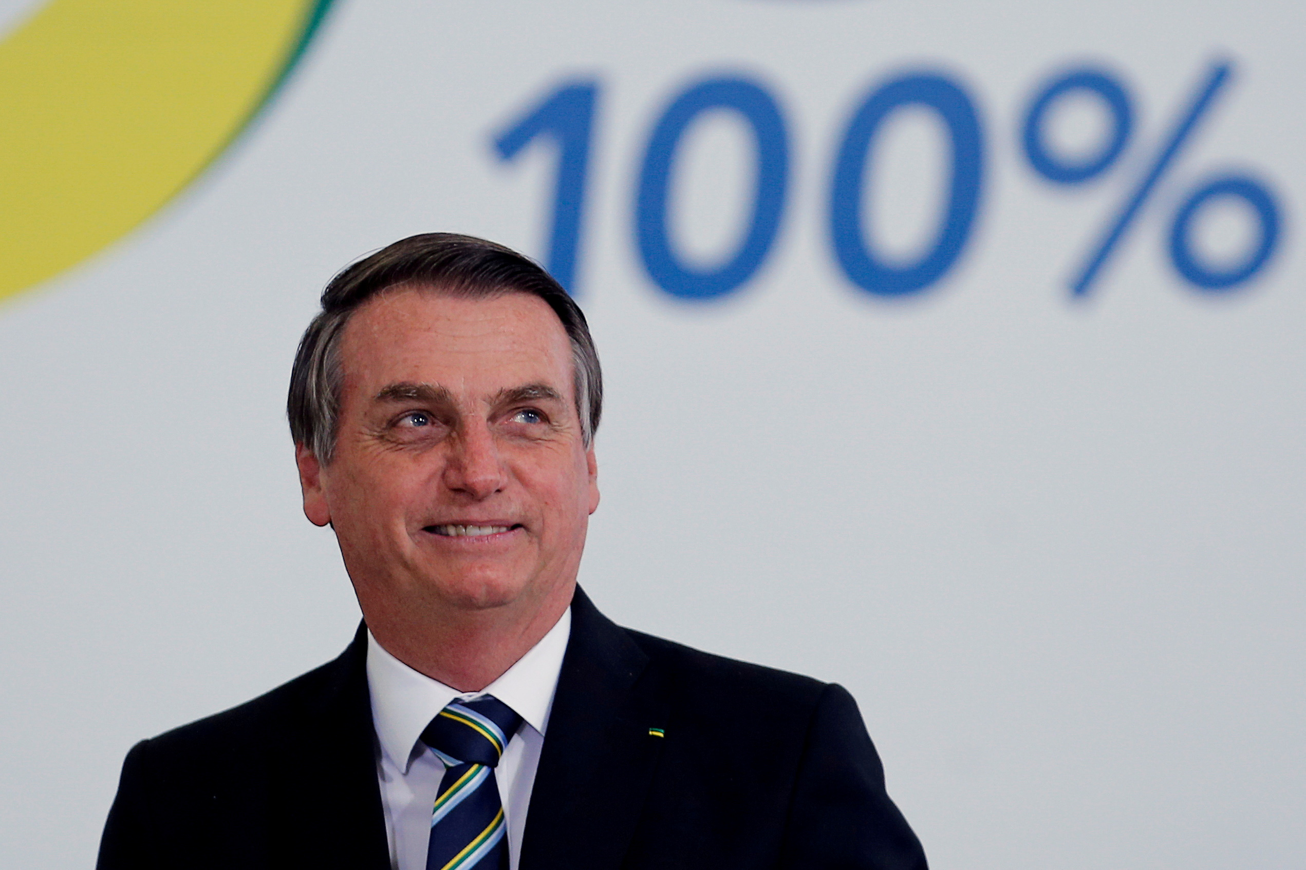Brazil's President Jair Bolsonaro attends the ceremony marking his 200 days in office at the Planalto Palace in Brasilia, Brazil July 18, 2019. REUTERS/Adriano Machado/File Photo
