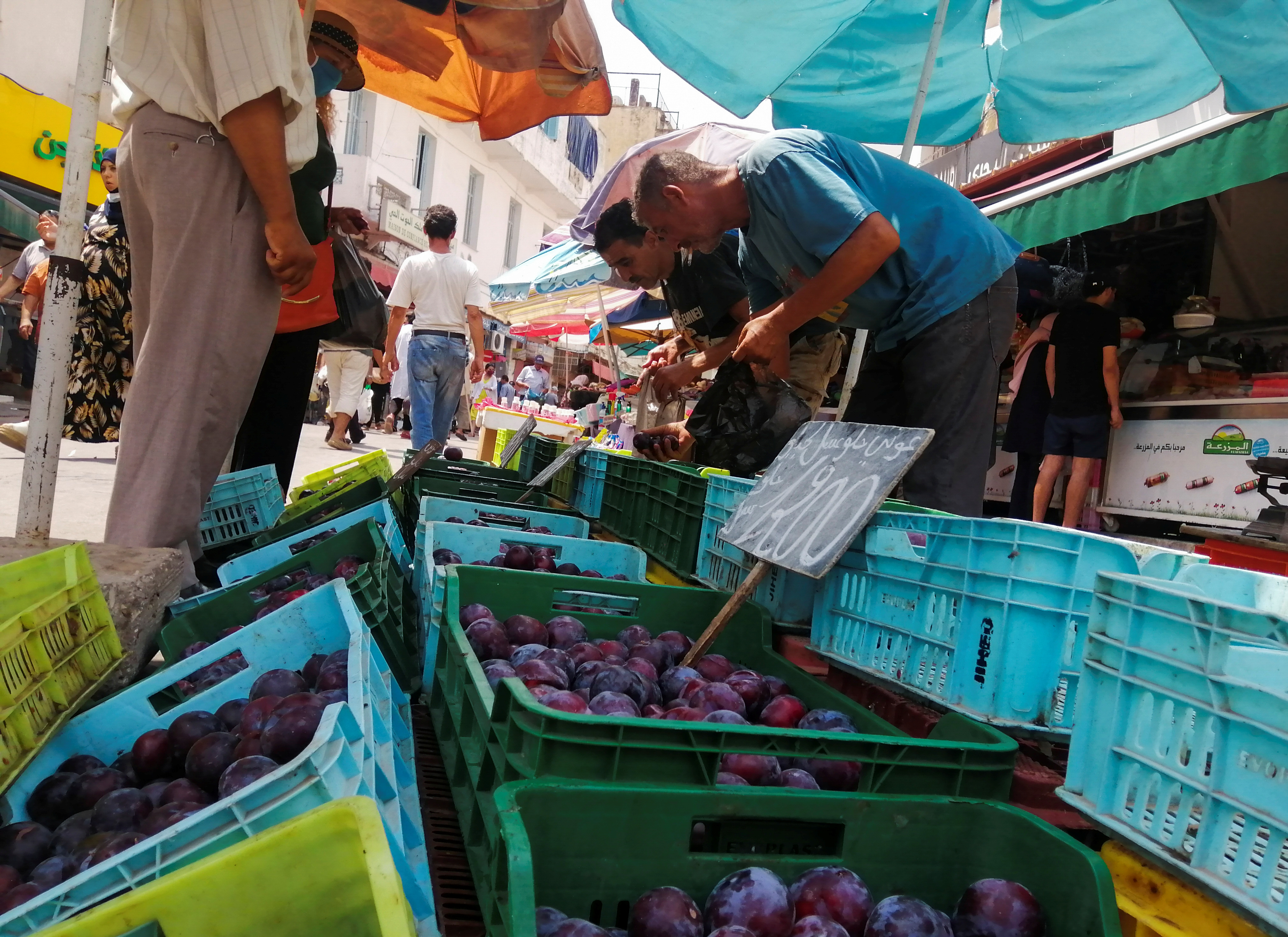 People shop for fruits at Sidi Bahri market in Tunis, Tunisia August 12, 2021. Picture taken August 12, 2021. REUTERS/Jihed Abidellaoui