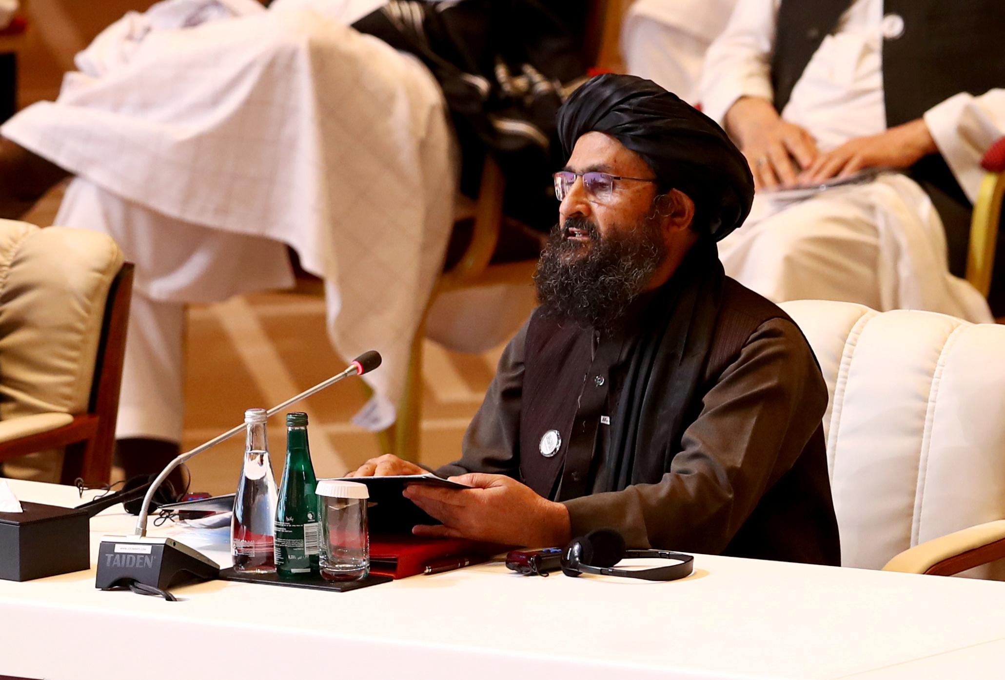 Mullah Abdul Ghani Baradar, the leader of the Taliban delegation, speaks during talks between the Afghan government and Taliban insurgents in Doha, Qatar September 12, 2020. REUTERS/Ibraheem al Omari