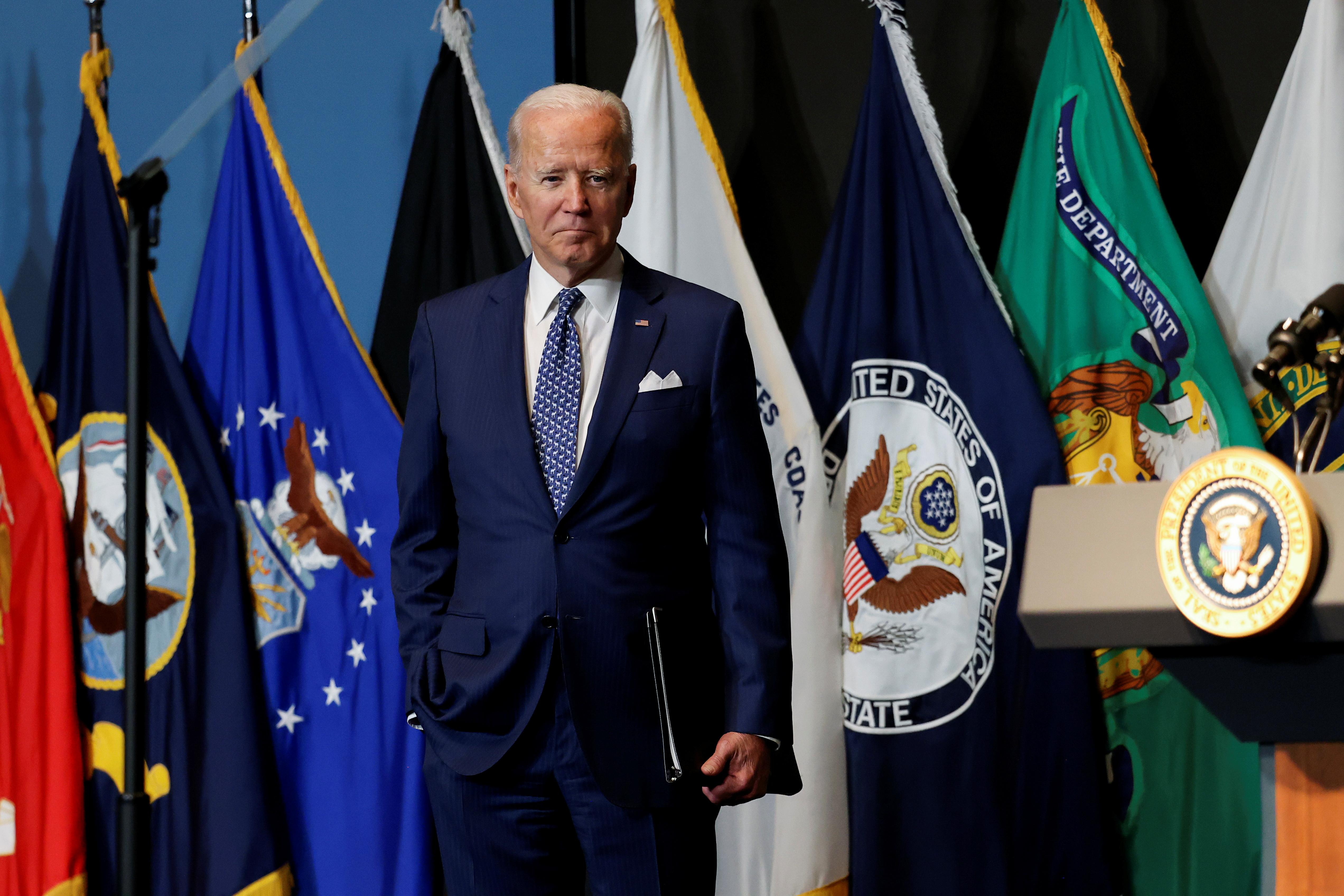 U.S. President Joe Biden departs after delivering remarks to members of
