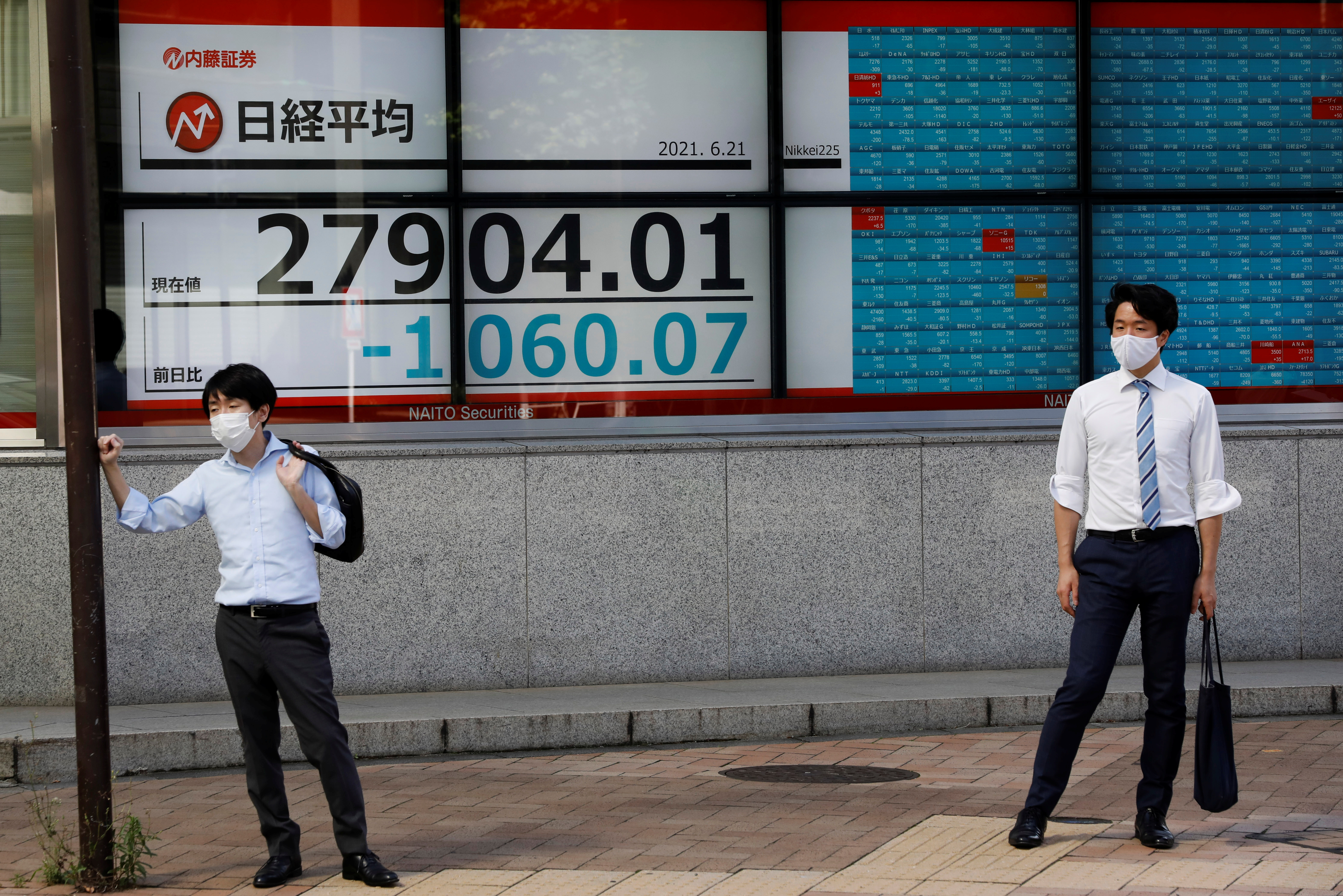 Men stand in front of an electric board showing Nikkei index outside a brokerage at a business district in Tokyo, Japan, June 21, 2021.   REUTERS/Kim Kyung-Hoon