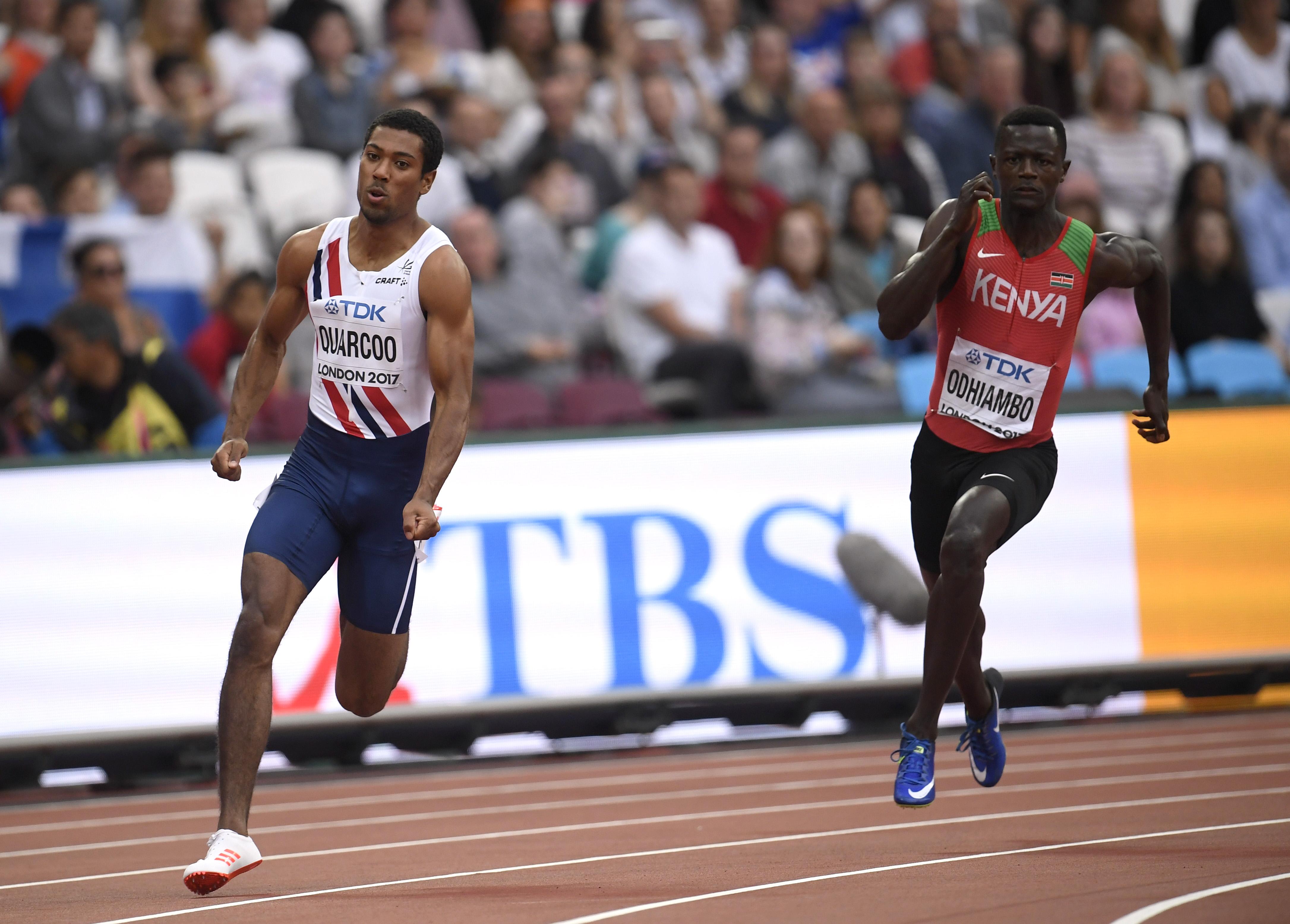 Athletics - World Athletics Championships - Men's 200 Metres Heats - London Stadium, London, Britain – August 7, 2017. Jonathan Quarcoo of Norway and Mark Otieno Odhiambo of Kenya in action. REUTERS/Toby Melville