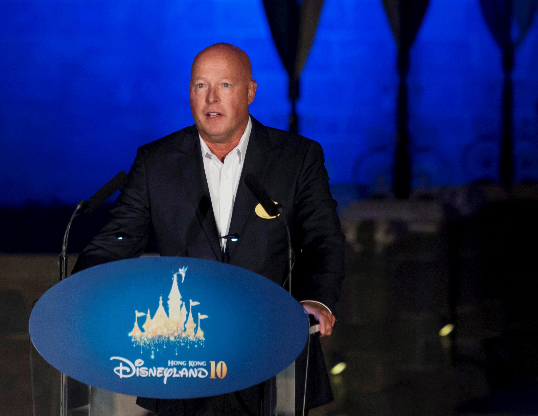 Bob Chapek, chairman of Walt Disney Parks and Resorts, speaks during the 10th anniversary ceremony of Hong Kong Disneyland in Hong Kong, China September 11, 2015. REUTERS/Tyrone Siu/File Photo