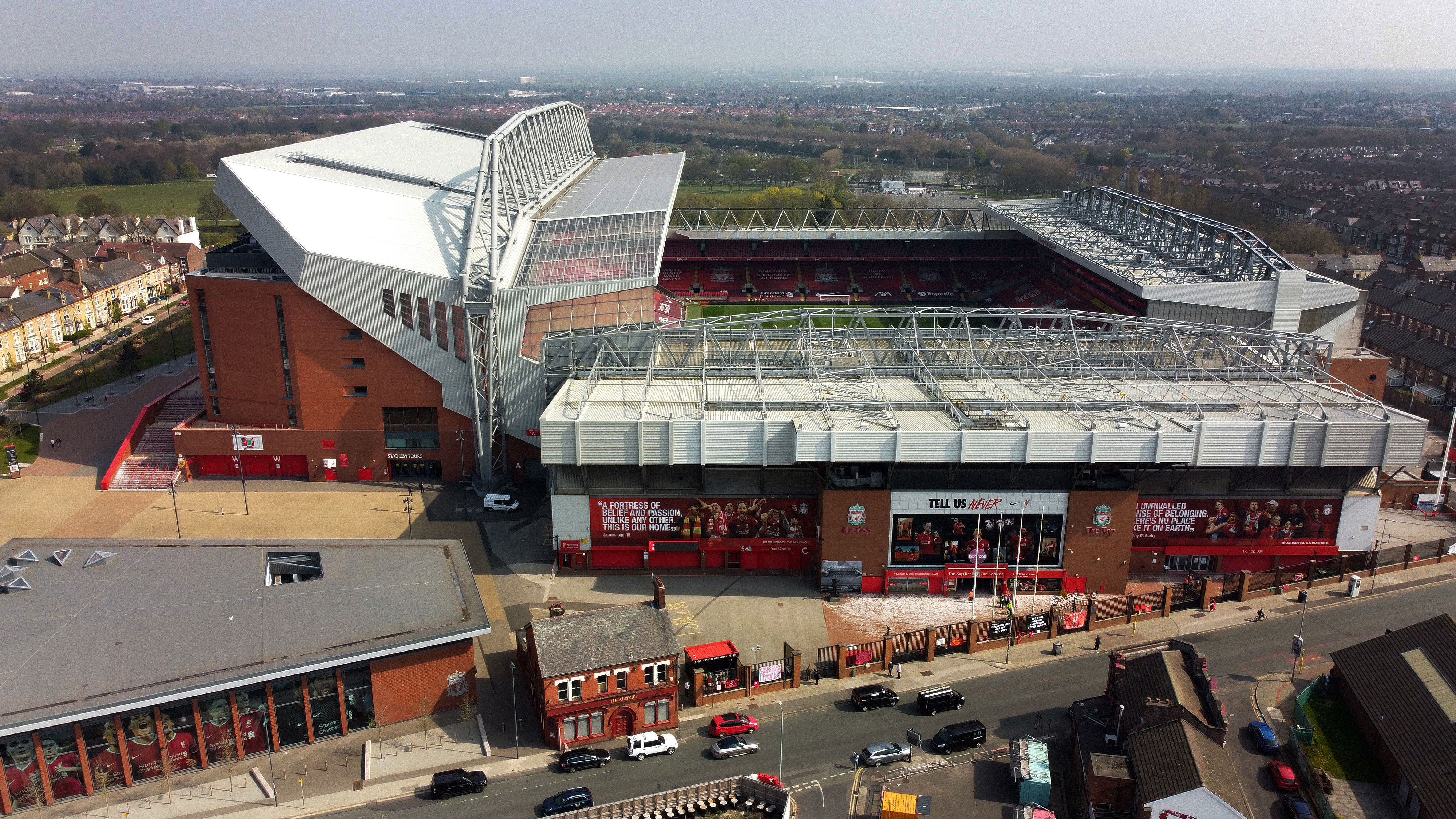Soccer Football - Twelve of Europe's top football clubs launch a breakaway Super League - Liverpool, Britain - April 20, 2021   General view of Anfield as twelve of Europe's top football clubs launch a breakaway. Picture taken with a drone. REUTERS/Phil Noble