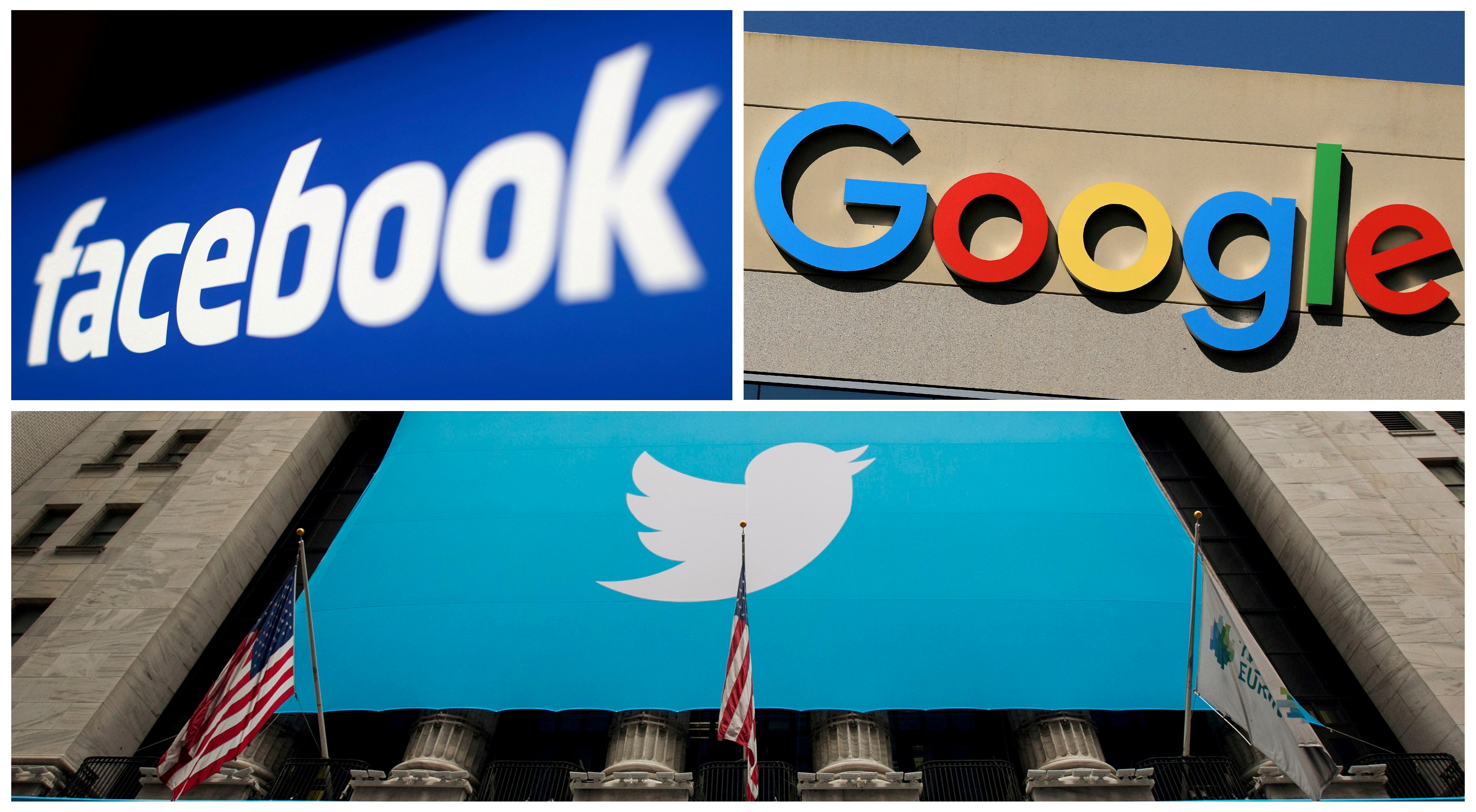 Facebook, Google and Twitter logos are seen in this combination photo from Reuters files. REUTERS