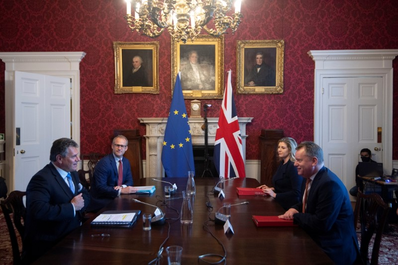 Britain's Brexit Minister David Frost chairs the first meeting of the Partnership Council with European Commission Vice-President Maros Sefcovic in London, June 9, 2021. Eddie Mulholland/Pool via REUTERS