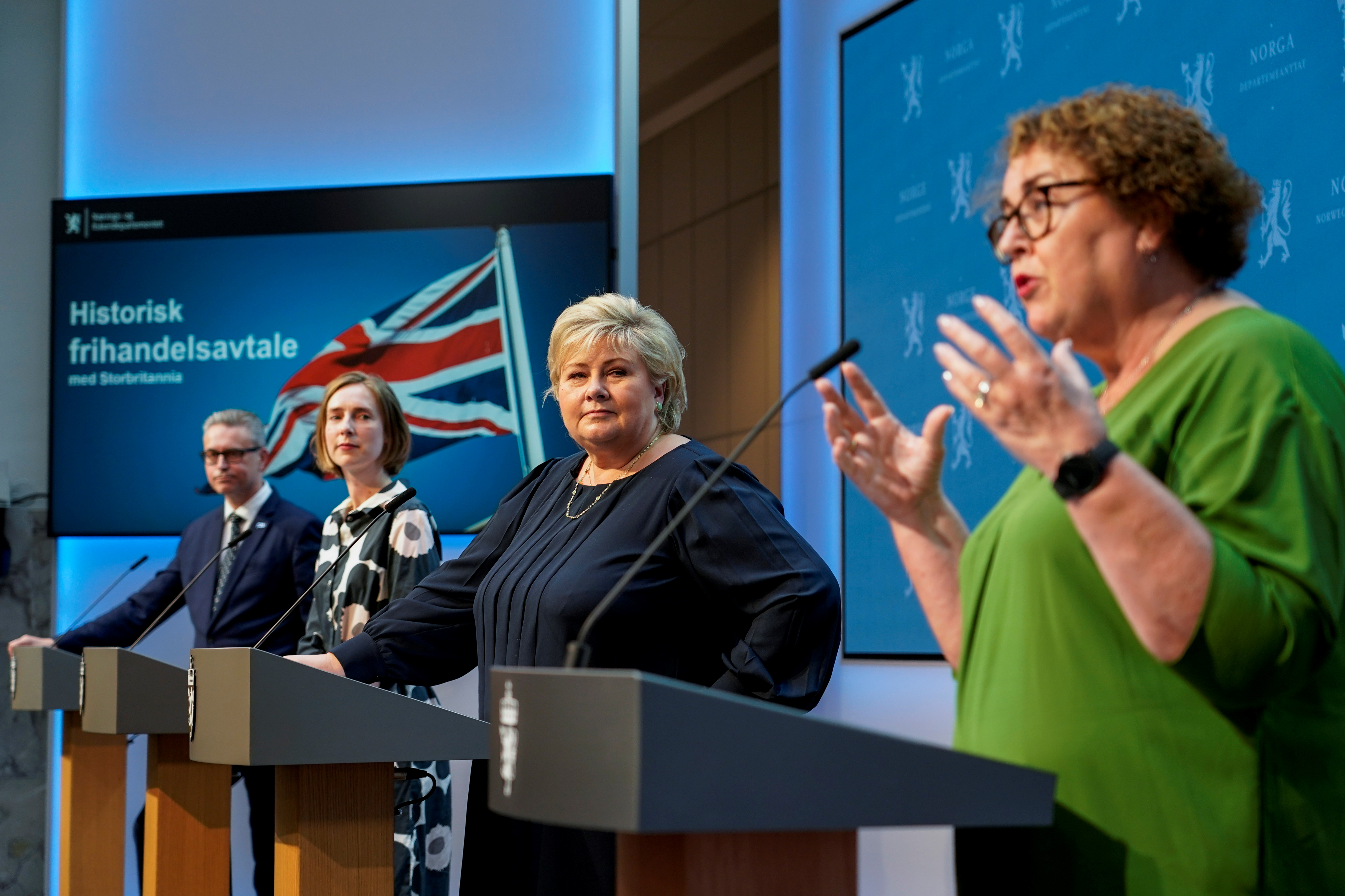 Norway's Minister of Fisheries and Seafood Odd Emil Ingebrigtsen, Minister of Trade and Industry Iselin Nyboe, Prime Minister Erna Solberg, and Minister of Agriculture and Food Olaug Bollestad attend a news conference on the status of free trade negotiations with the United Kingdom, in Oslo, Norway June 4, 2021. NTB/Gorm Kallestad via REUTERS