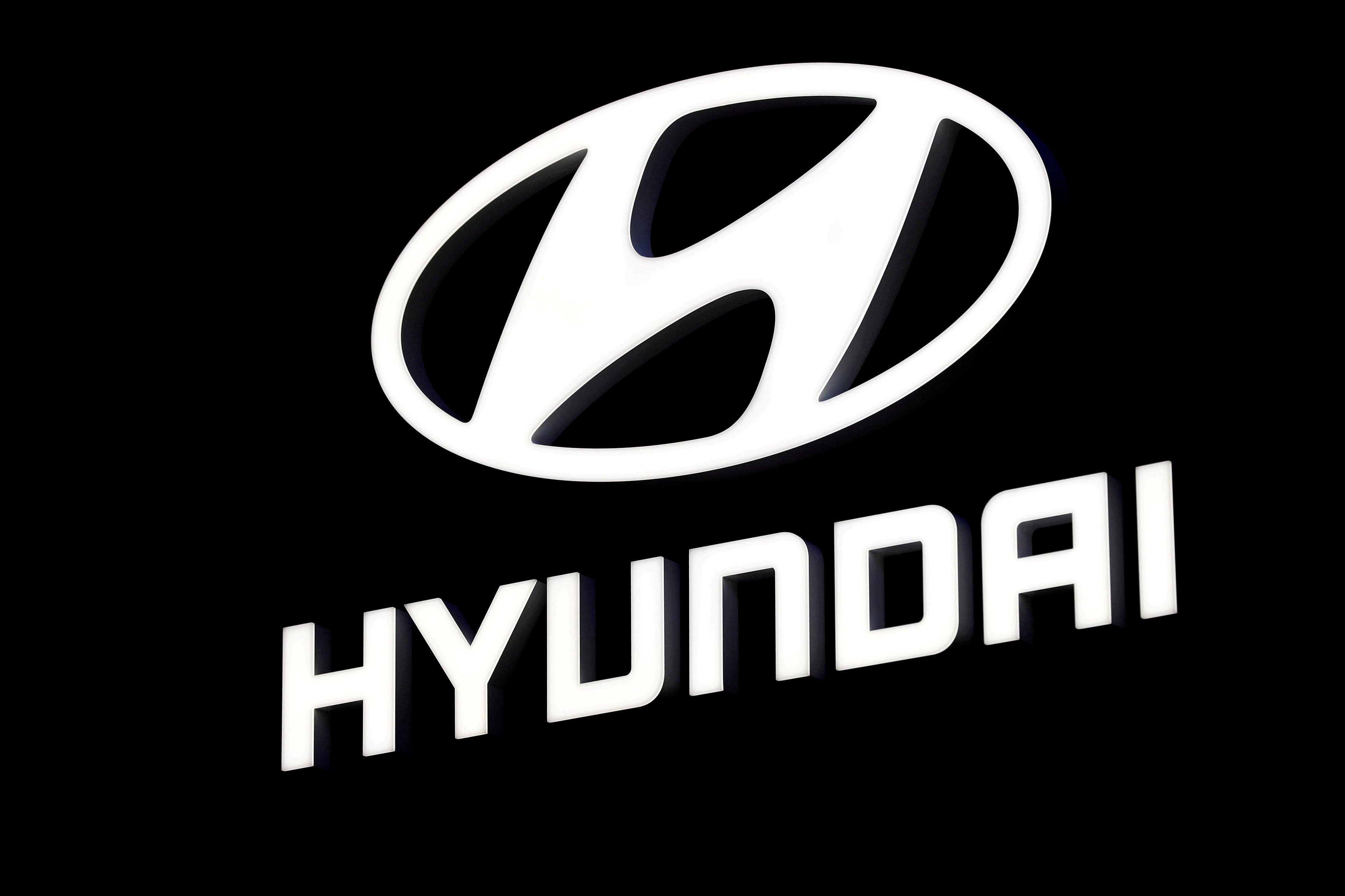 A Hyundai booth displays the company logo at the North American International Auto Show in Detroit, Michigan, U.S. January 16, 2018.  REUTERS/Jonathan Ernst