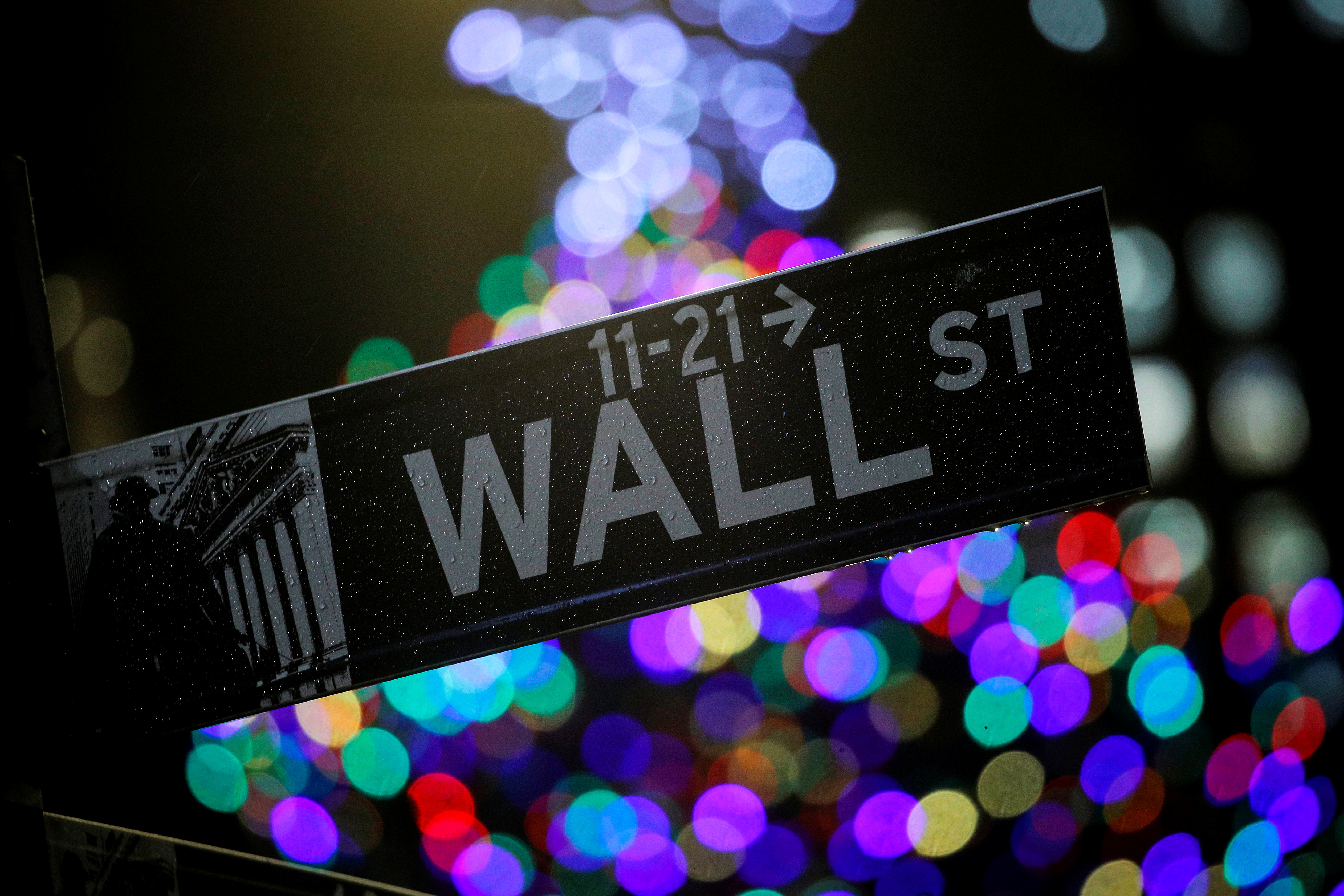 The Wall St. sign is seen outside the New York Stock Exchange (NYSE) in New York, U.S., December 17, 2019. REUTERS/Brendan McDermid