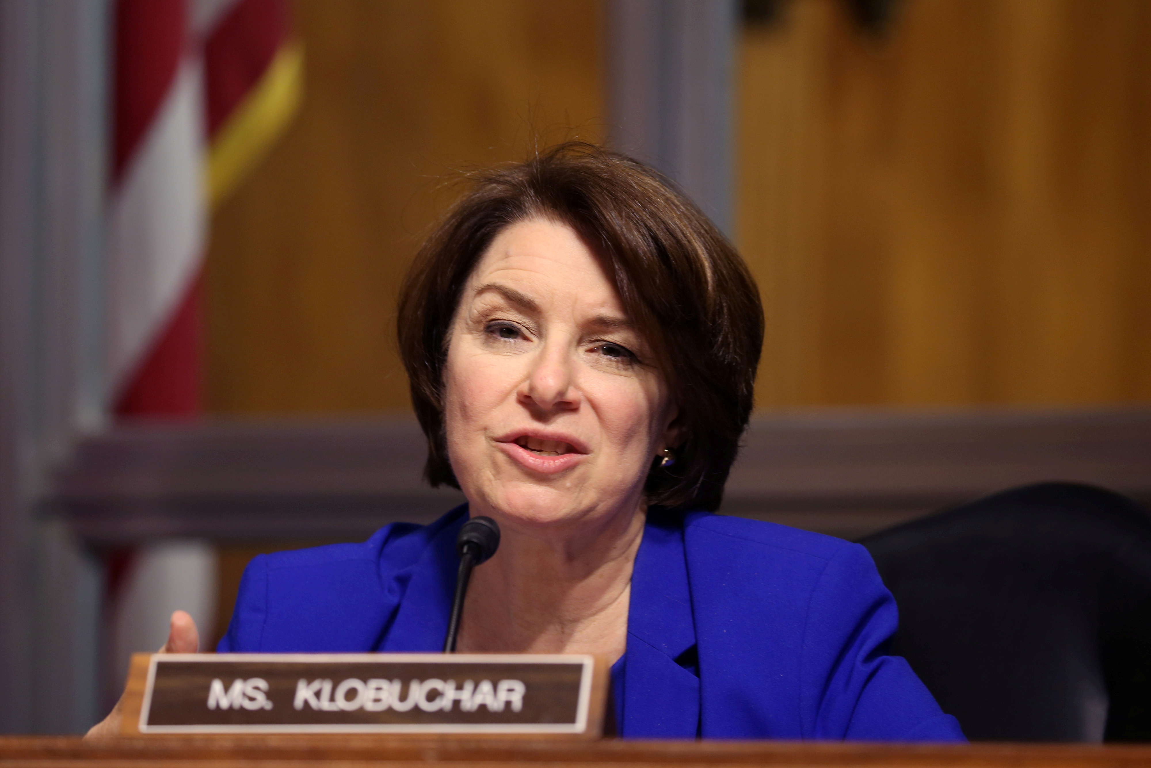 Sen. Amy Klobuchar, D-MN, asks questions during a hearing of the Senate Judiciary Subcommittee on Privacy, Technology, and the Law, at the U.S. Capitol in Washington. Tasos Katopodis/Pool via REUTERS