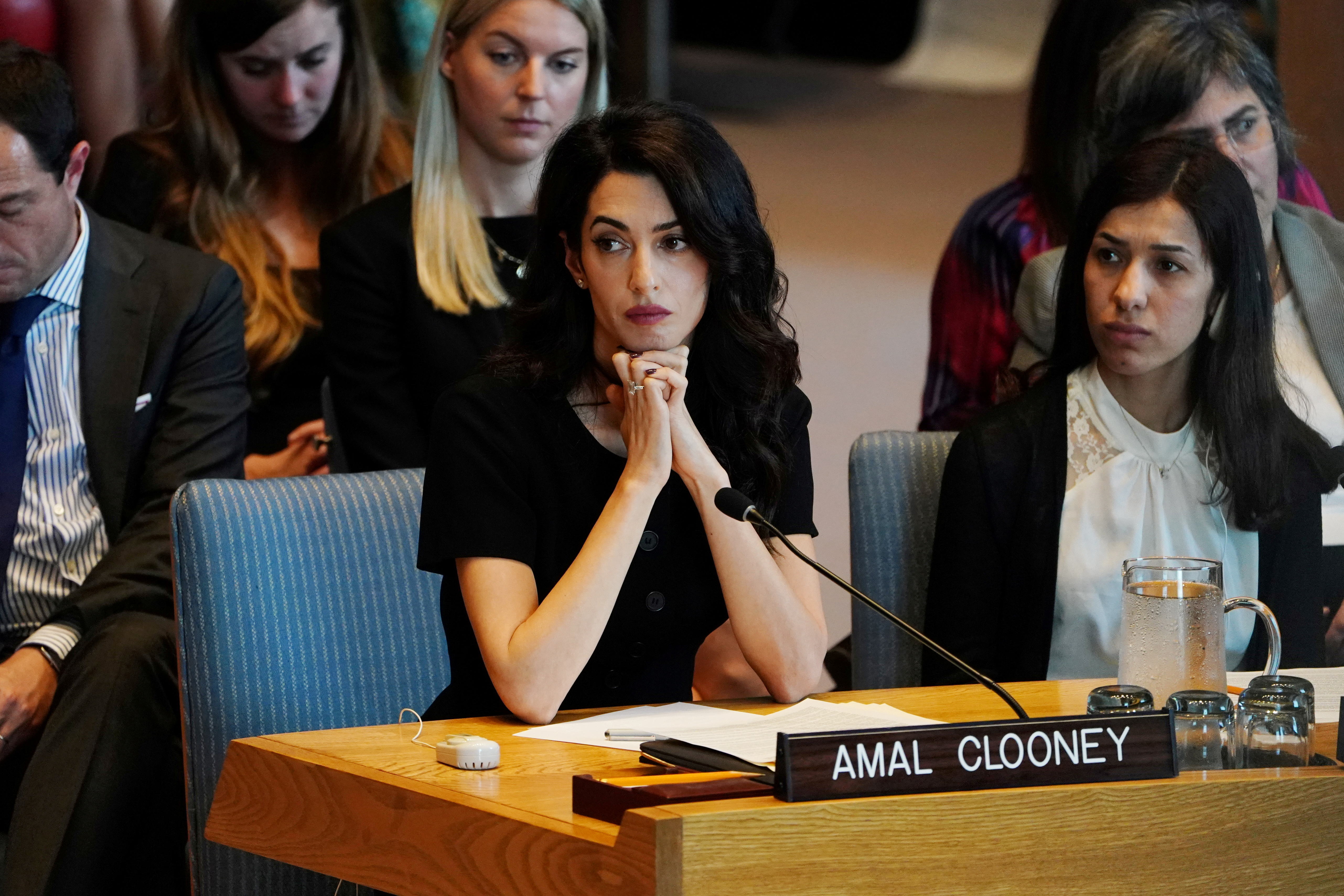 Amal Clooney is pictured at the United Nations Security Council during a meeting about sexual violence in conflict in New York, New York, U.S., April 23, 2019.   REUTERS/Carlo Allegri/File Photo