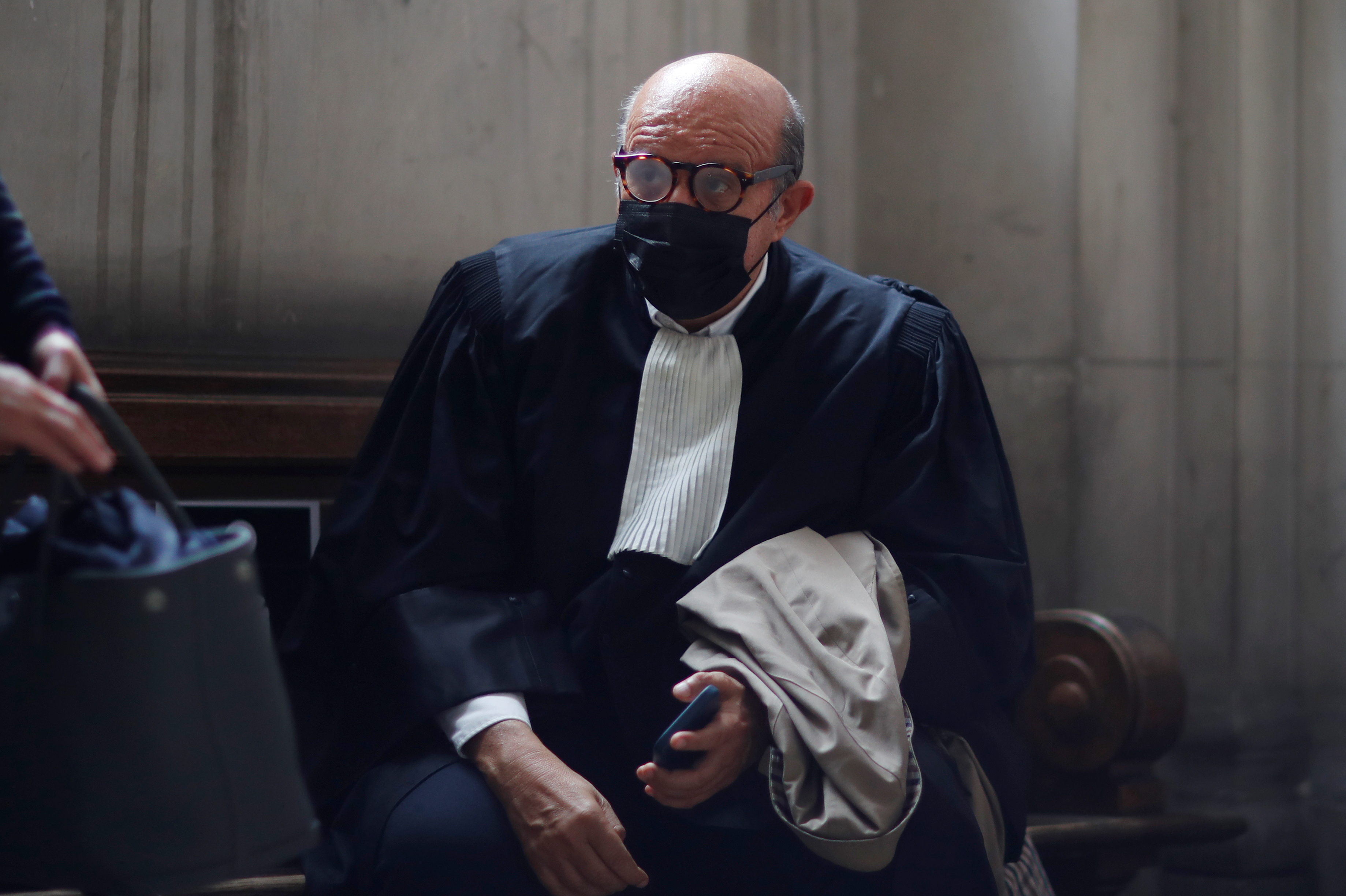 Herve Temime, lawyer of Swiss bank UBS, is seen at the Paris Appeals Court as French judges are set to rule today on Swiss bank UBS's delayed appeal against a 4.5 billion-euro fine for allegedly helping wealthy clients stash undeclared assets offshore, in Paris, France, September 27, 2021. REUTERS/Gonzalo Fuentes