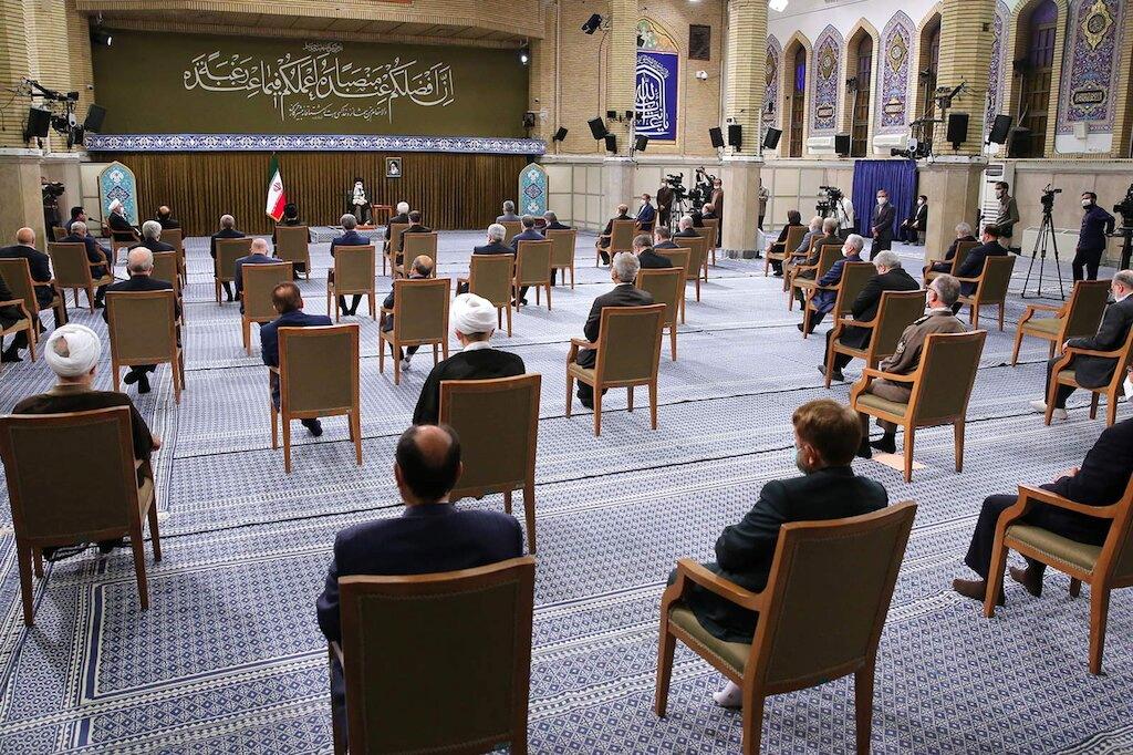 Iran's Supreme Leader Ayatollah Ali Khamenei meets with Iranian President Hassan Rouhani and his cabinet members, in Tehran, Iran July 28, 2021. Official Khamenei Website/Handout via REUTERS